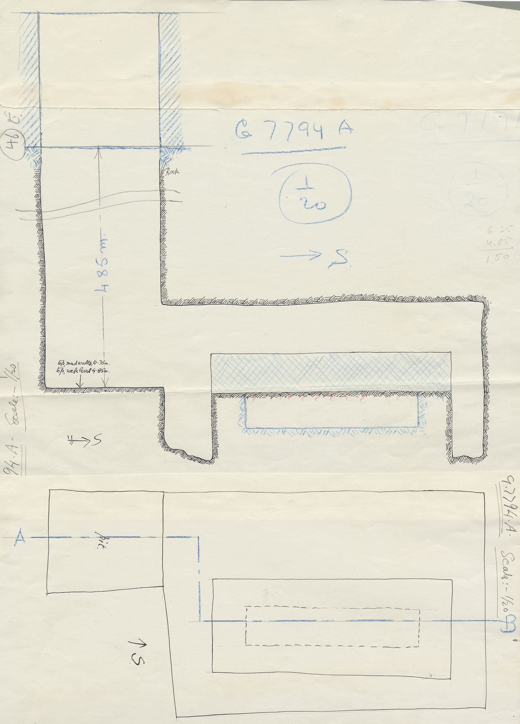 Maps and plans: G 7794, Shaft A