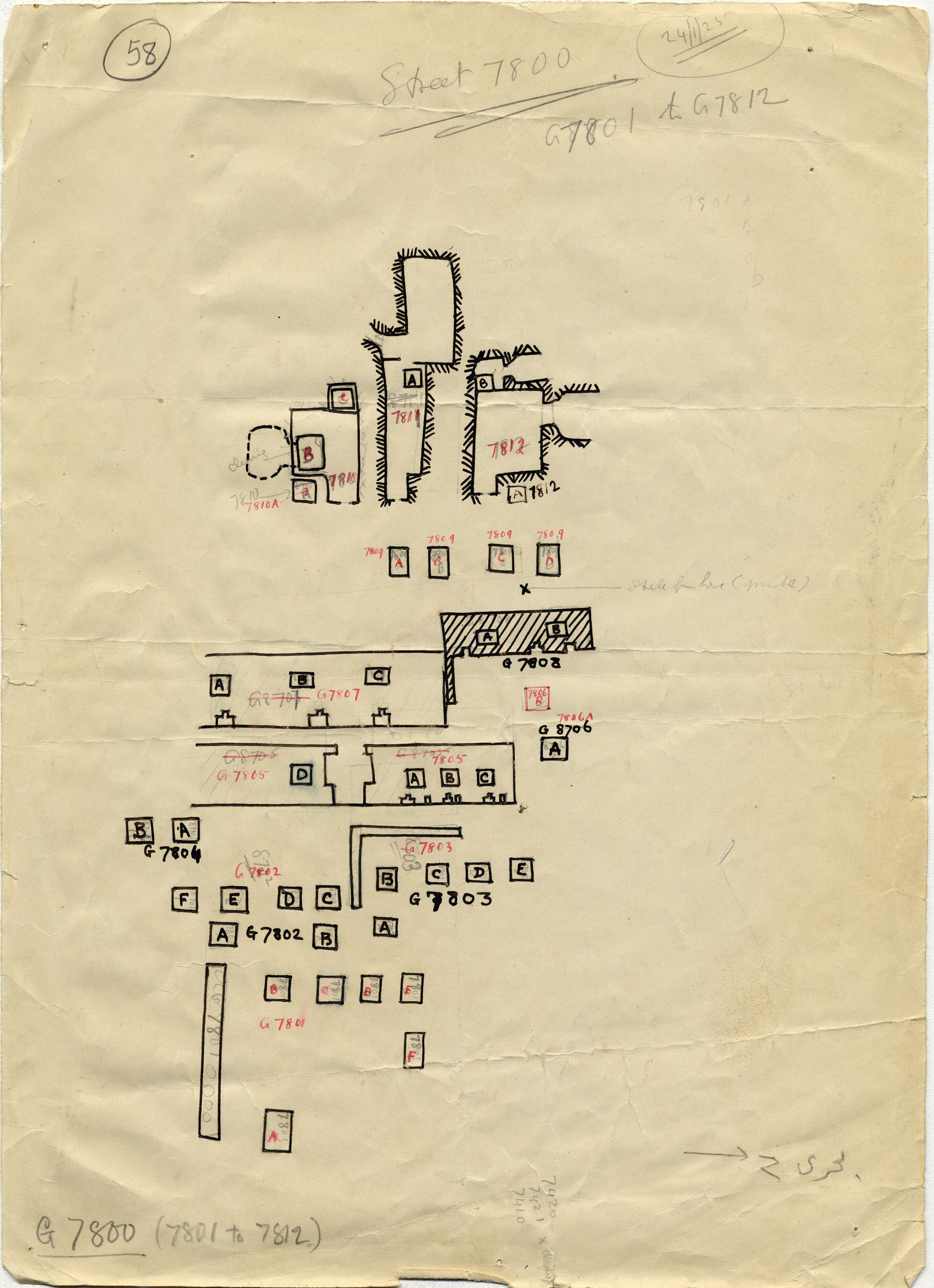 Maps and plans: Plan of cemetery G 7000: G 7800s (rough draft)
