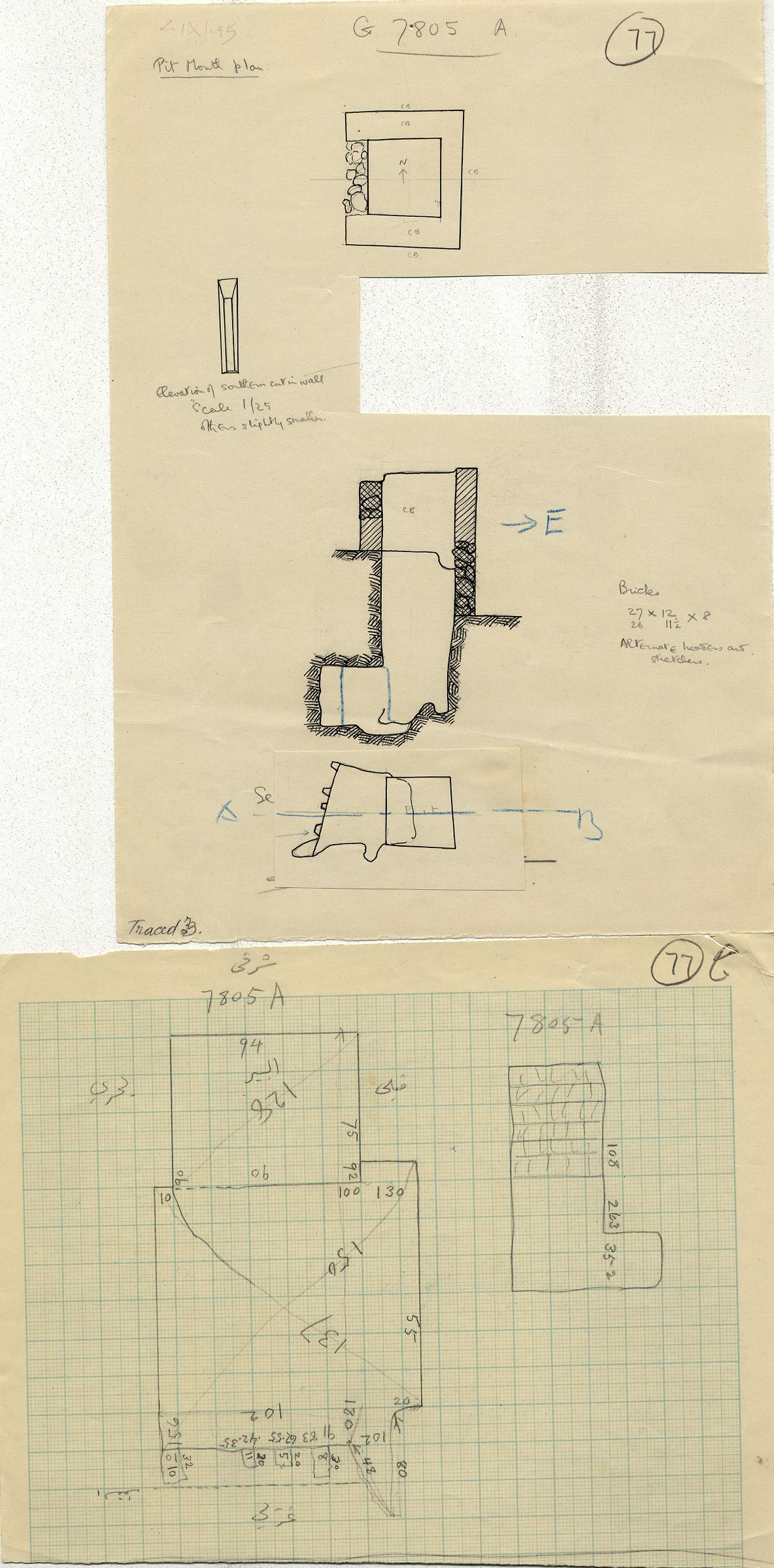 Maps and plans: G 7805, Shaft A