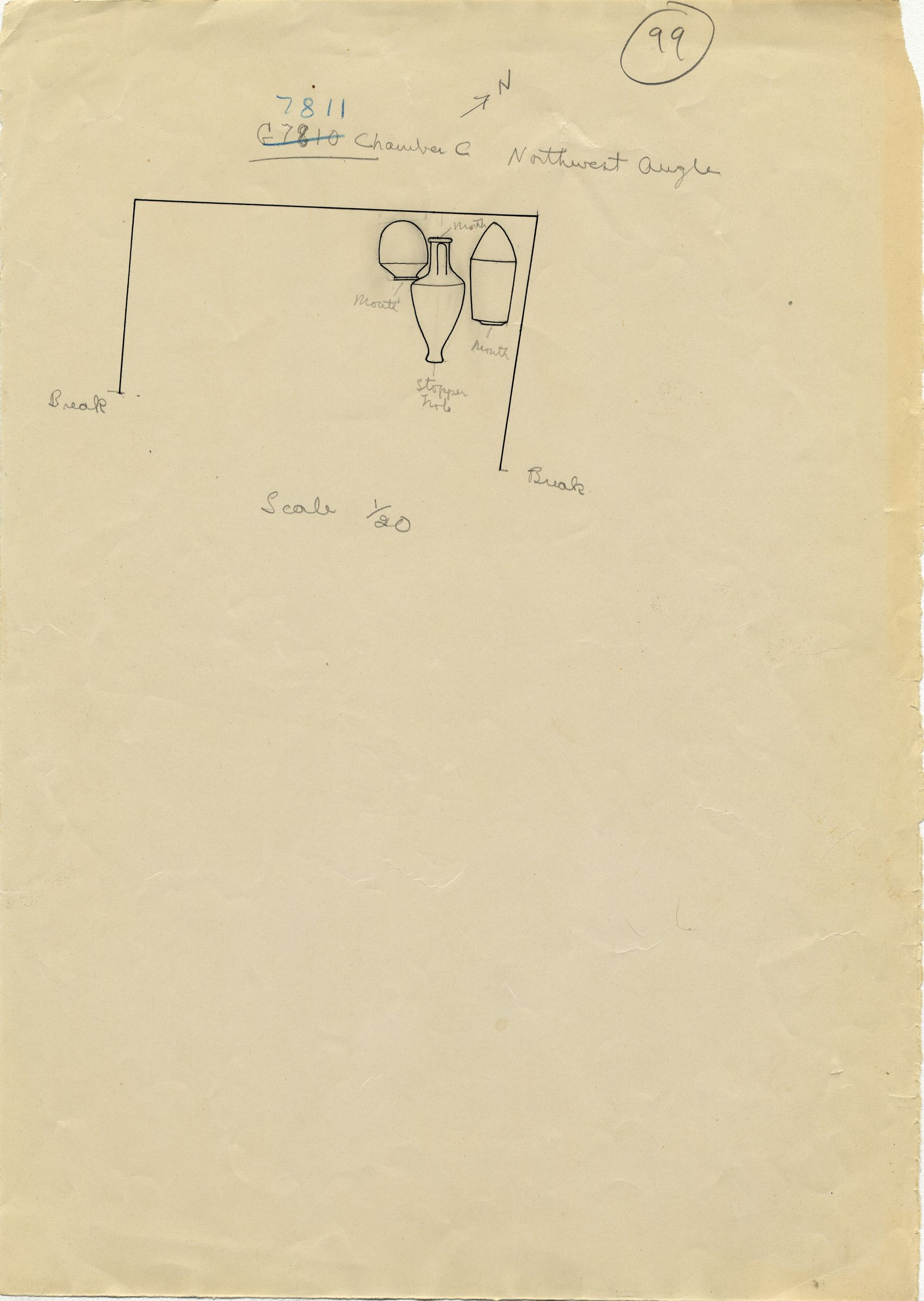 Maps and plans: G 7811, Chamber C, objects in northwest corner
