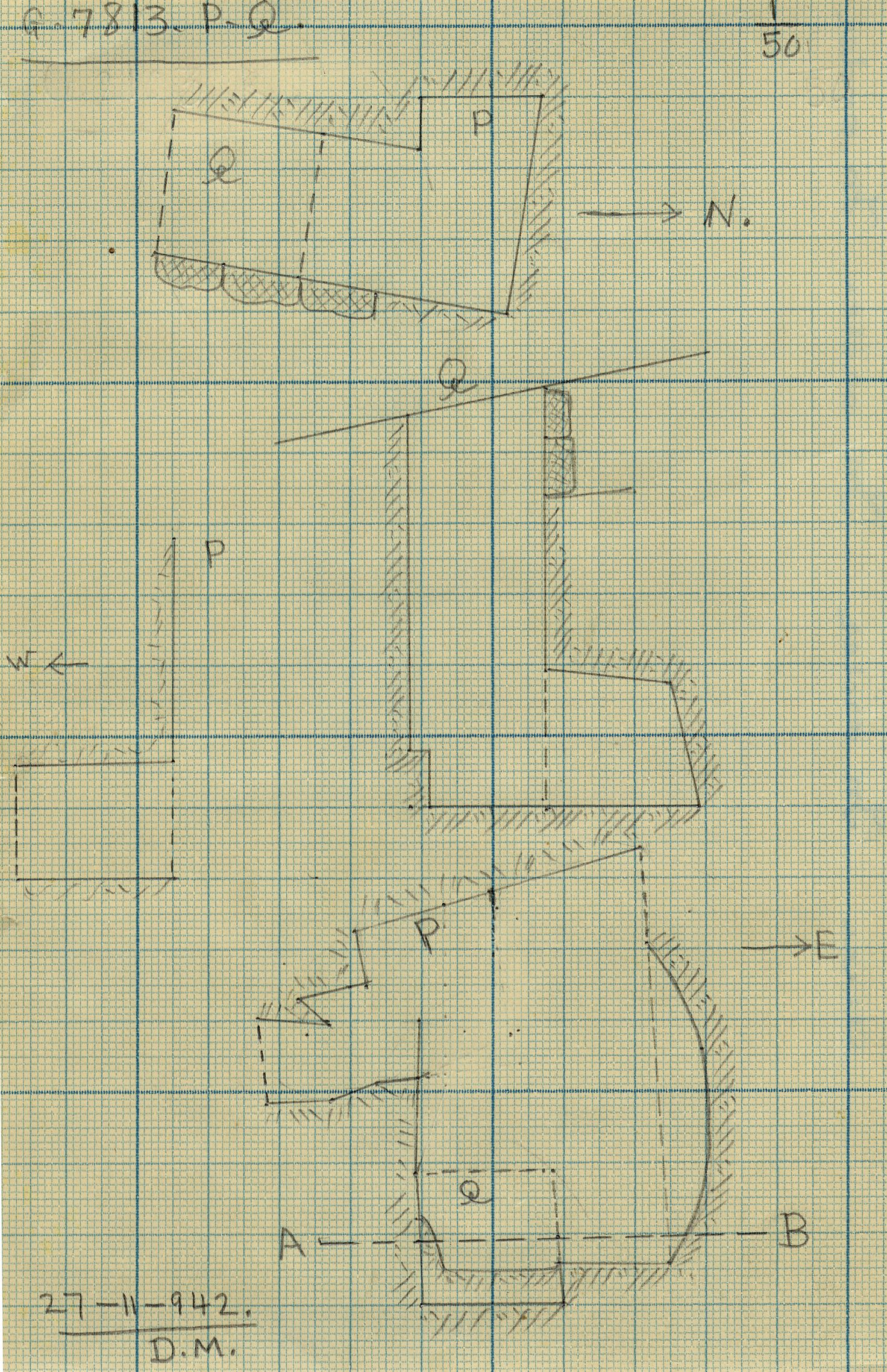 Maps and plans: G 7813, Shaft P and Q