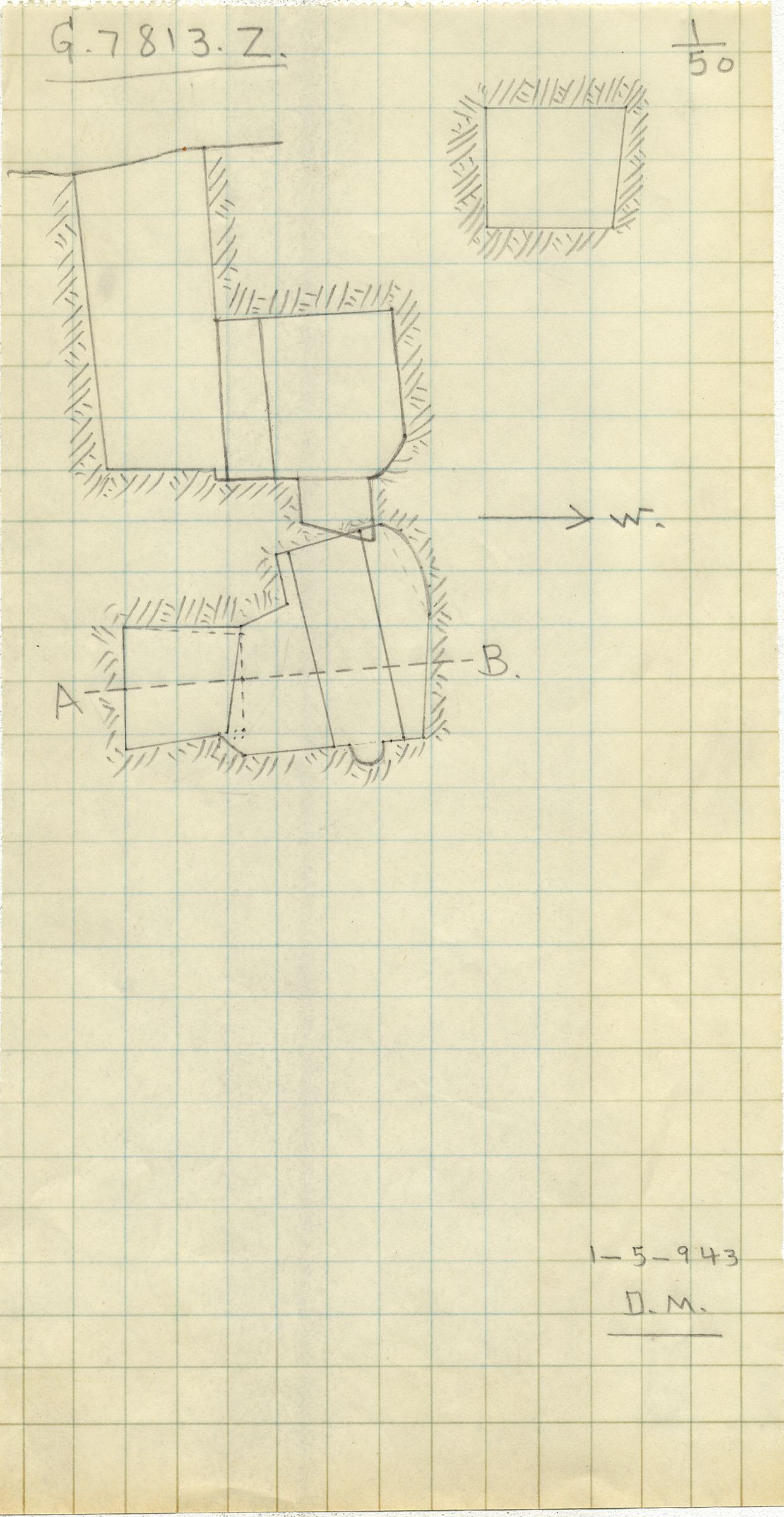 Maps and plans: G 7813, Shaft Z