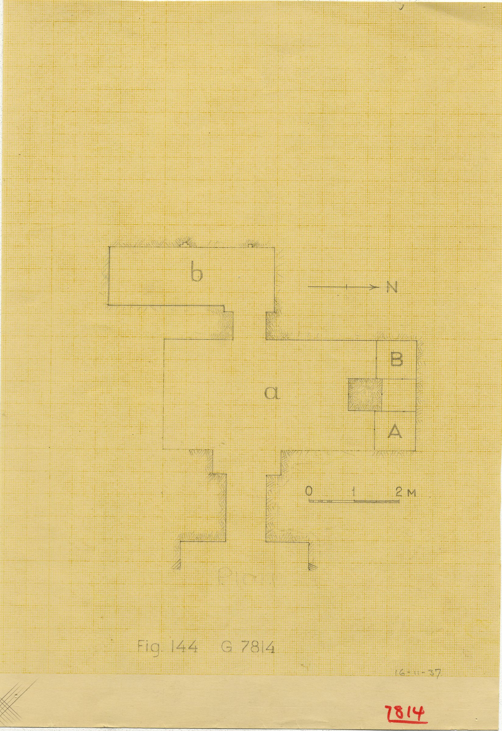 Maps and plans: G 7814, Plan of chapel, with shafts A and B