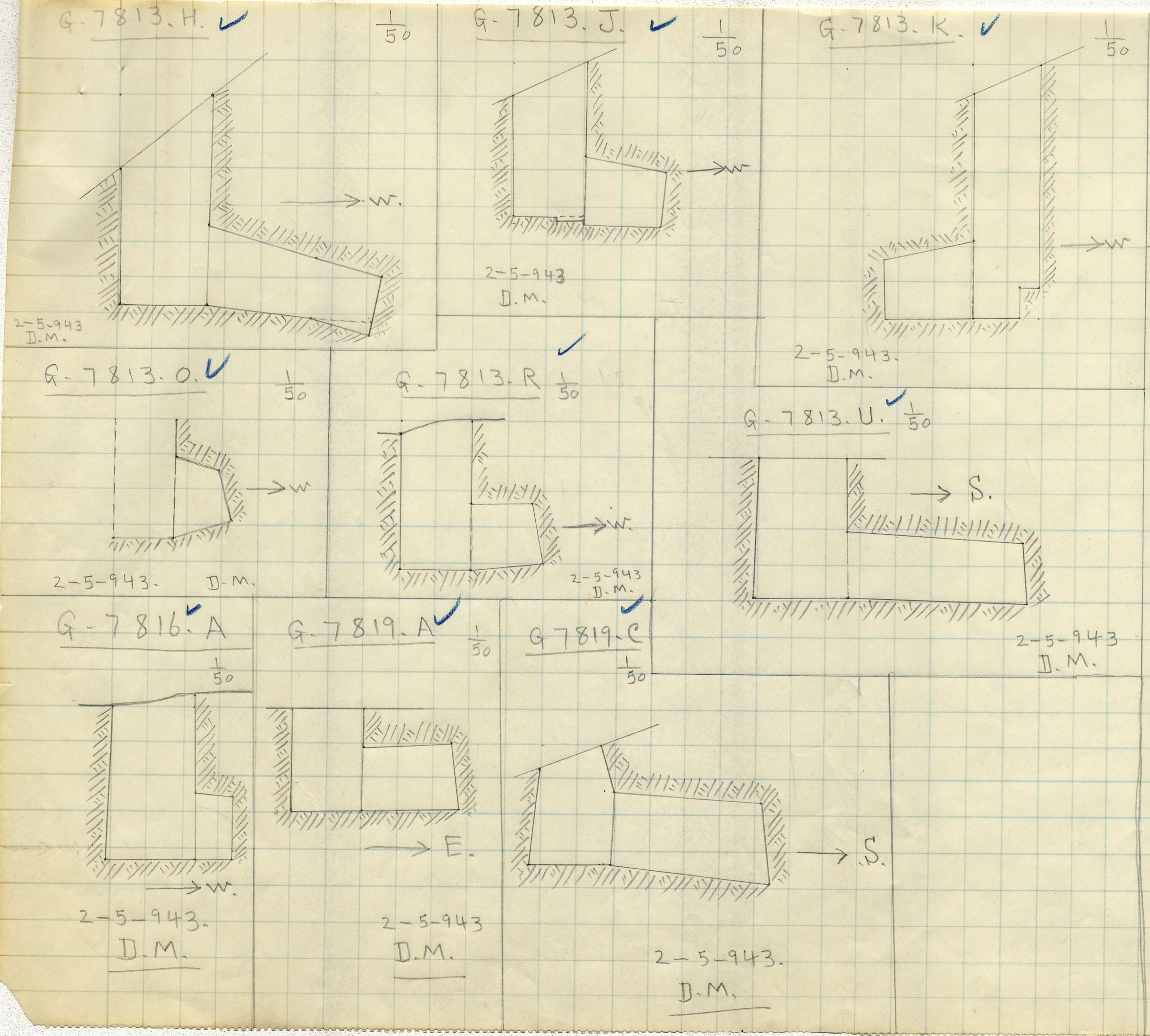 Maps and plans: G 7813, Shaft H, J, K, O, R, U & G 7816, Shaft A & G 7819, Shaft A and C