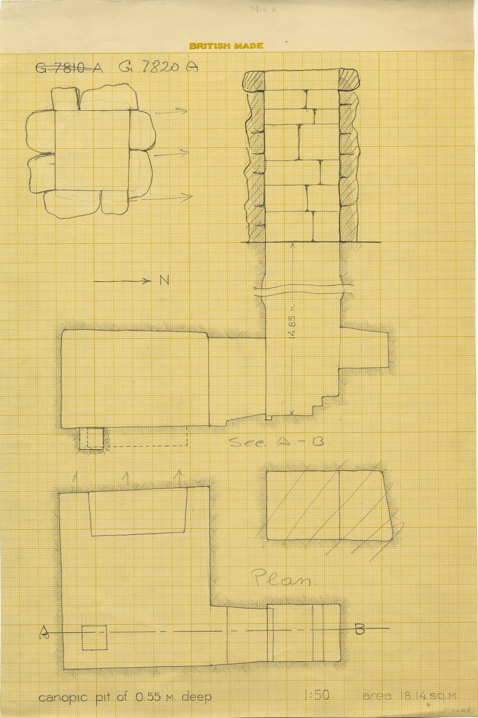 Maps and plans: G 7820, Shaft A
