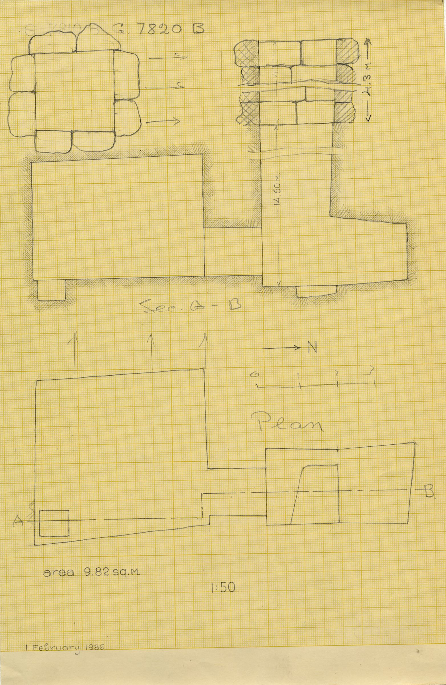 Maps and plans: G 7820, Shaft B