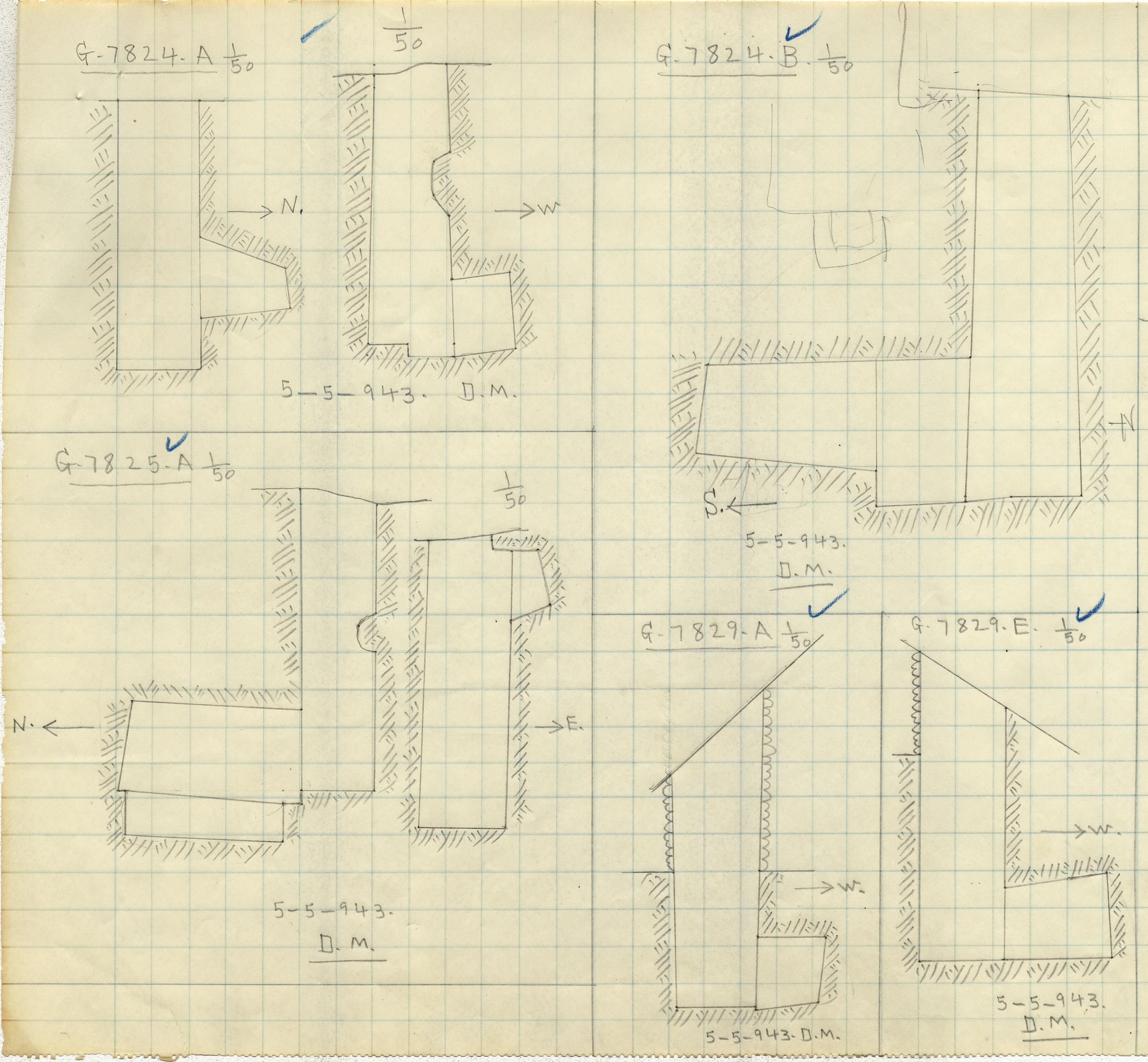 Maps and plans: G 7824, Shaft A and B & G 7825, Shaft A & G 7829, Shaft A and E