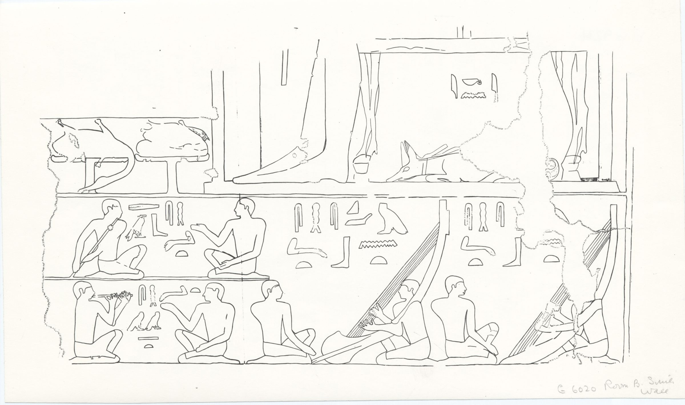Drawings: G 6020: relief from Room B, S wall