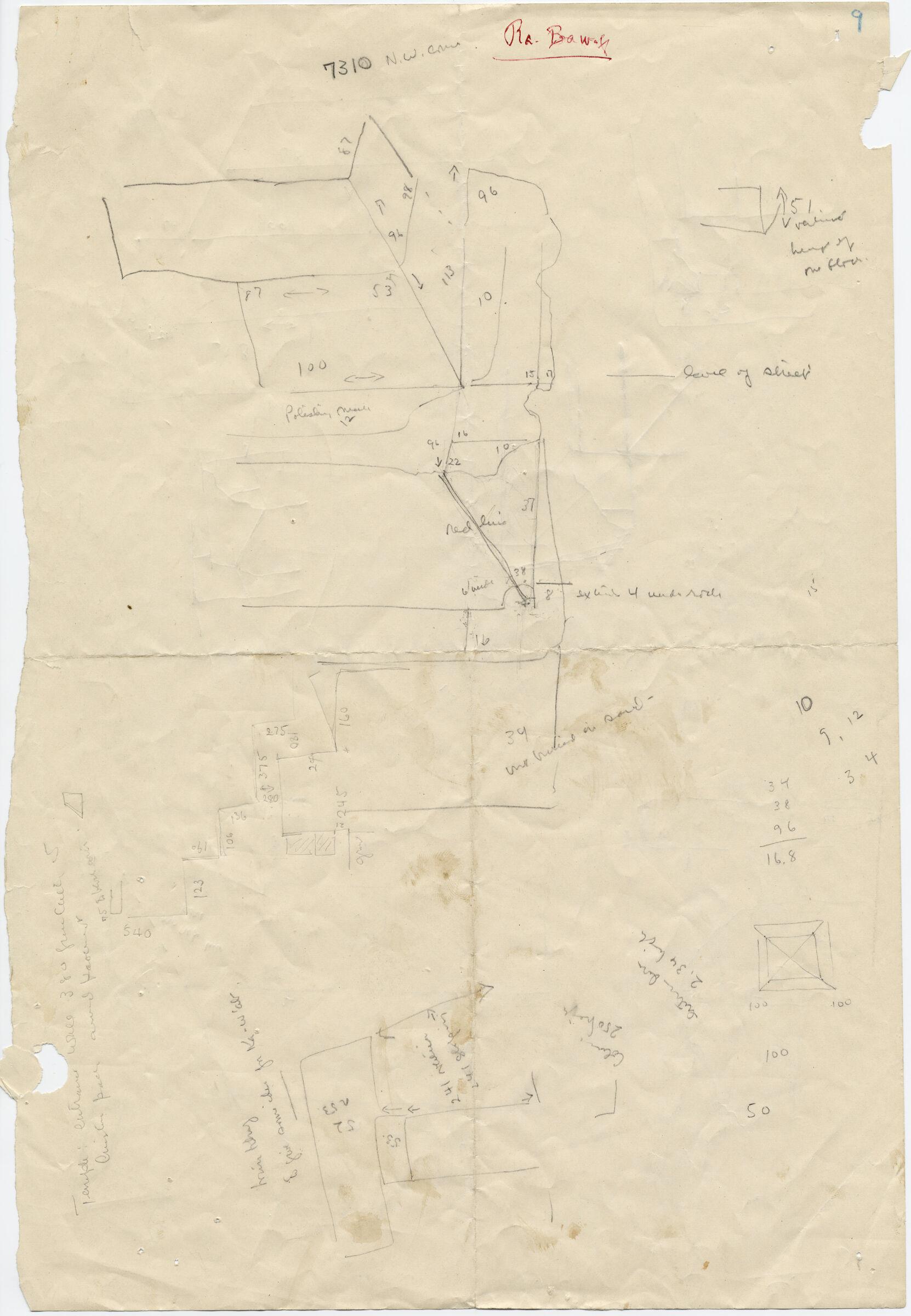 Drawings: G 7310-7320: G 731, Sketch plan of NW corner