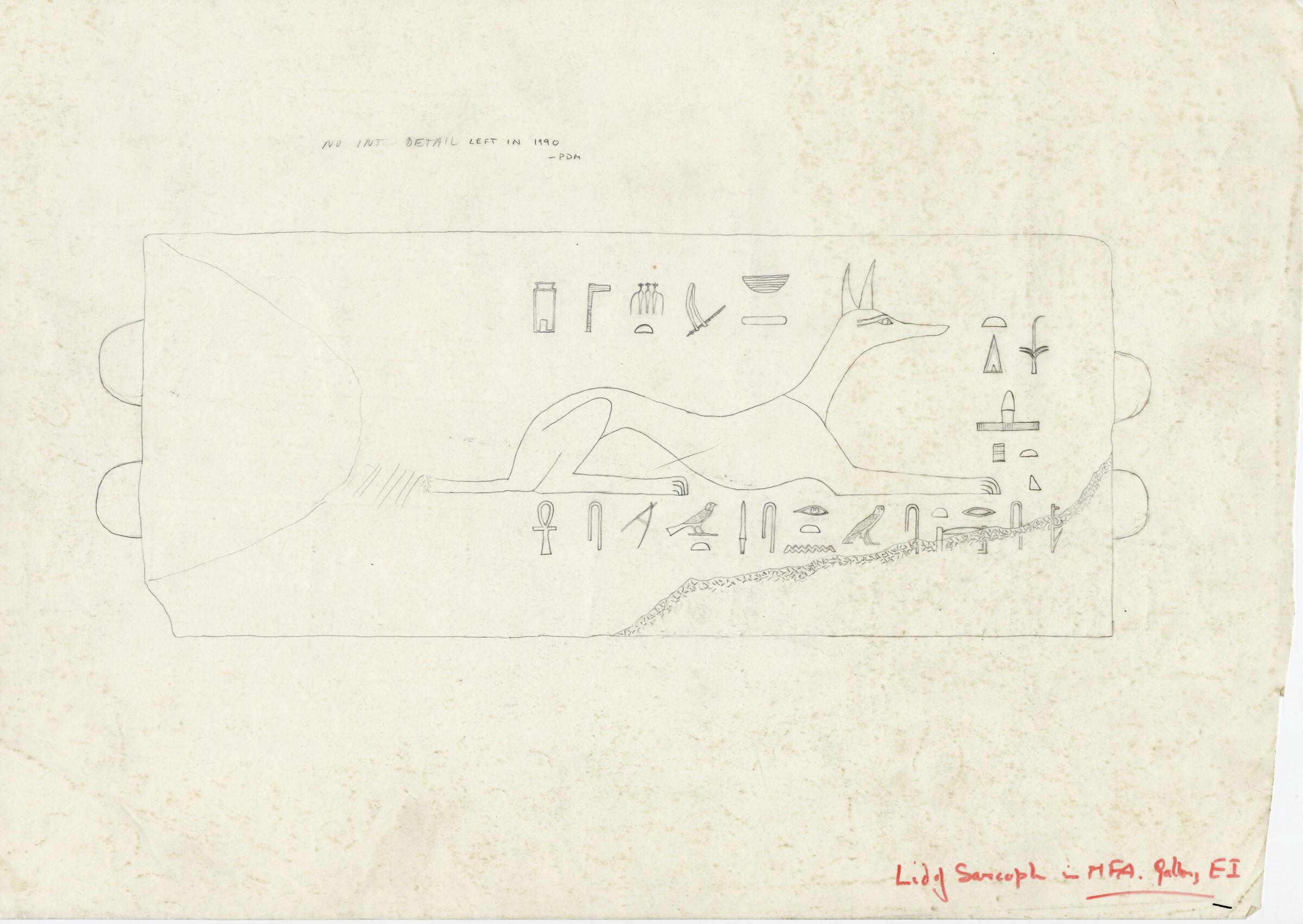 Drawings: G 7410-7420: G 7410, Shaft B: sarcophagus, lid