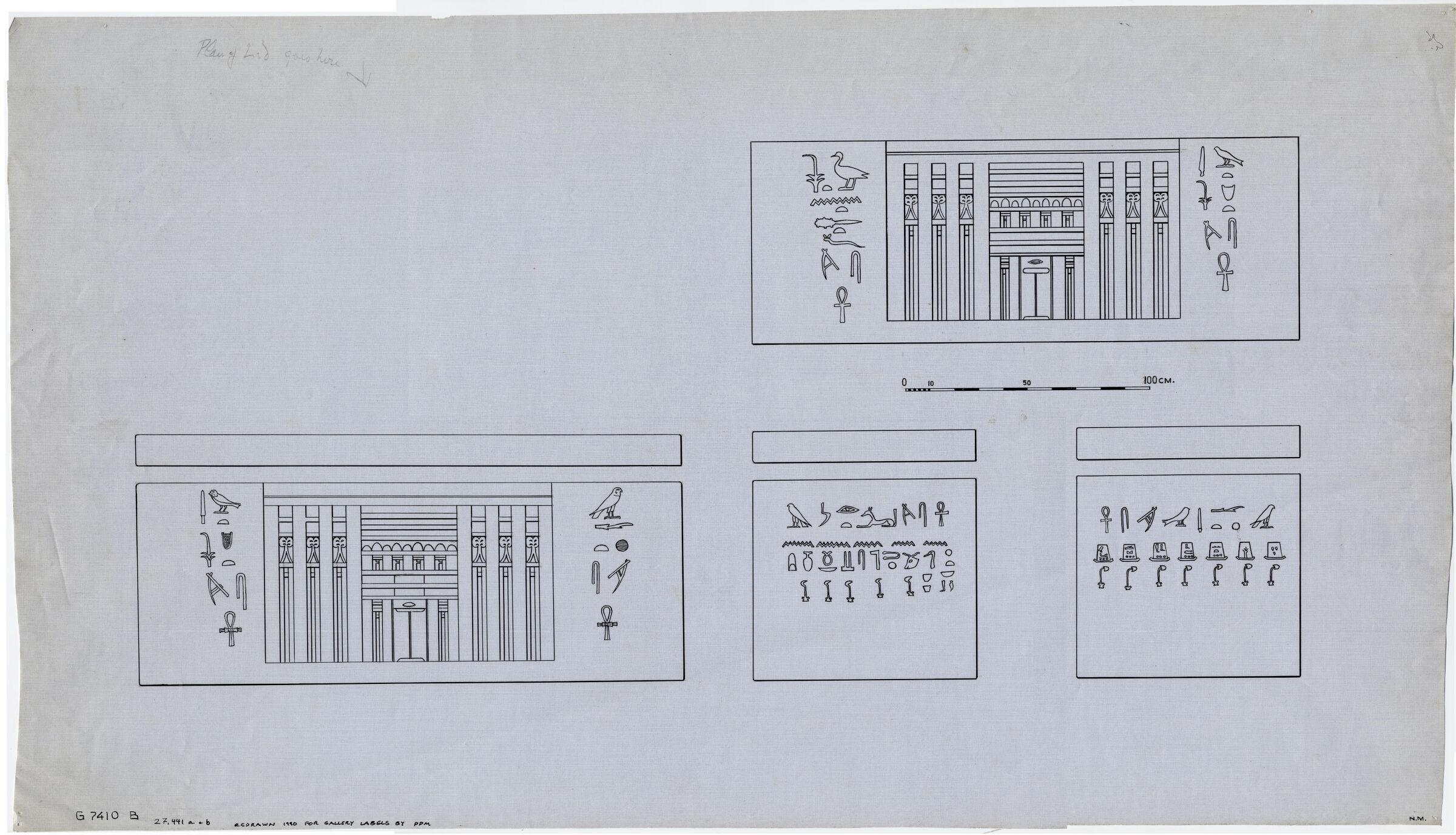 Drawings: G 7410, Shaft B: sarcophagus of Meresankh