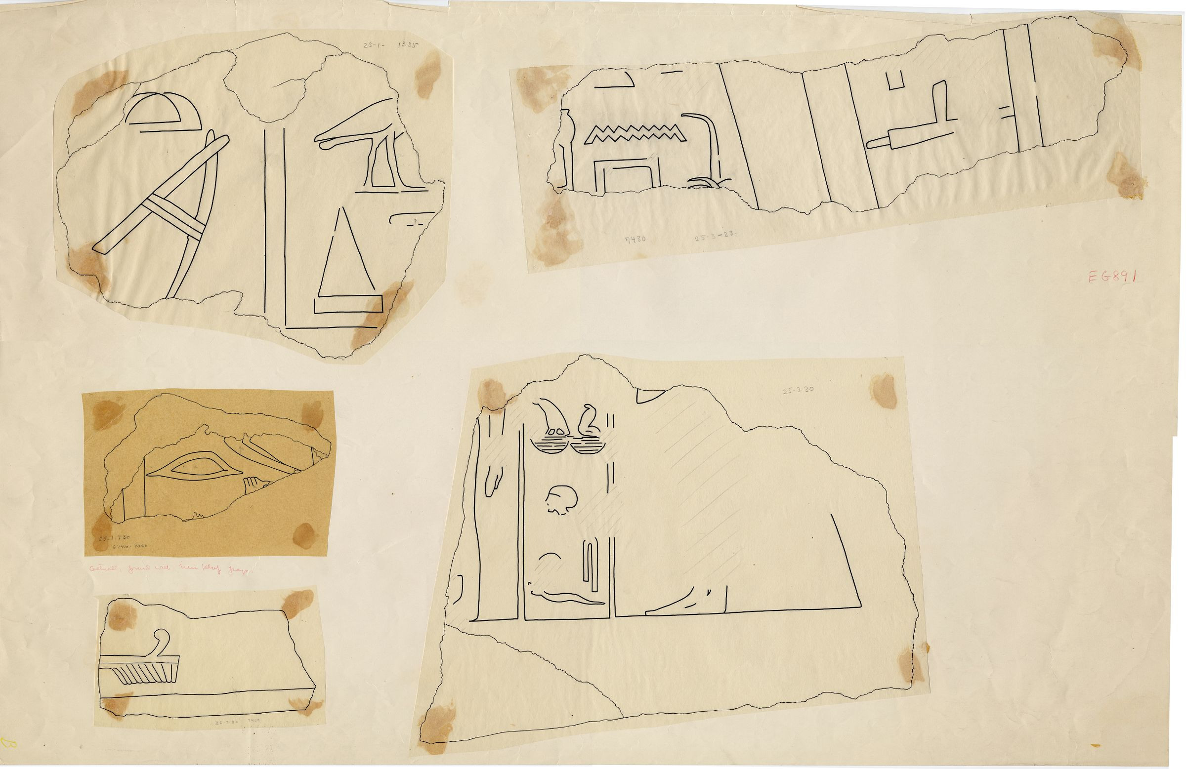 Drawings: fragments of relief from Street G 7400, G 7410-7420, G 7430-7440