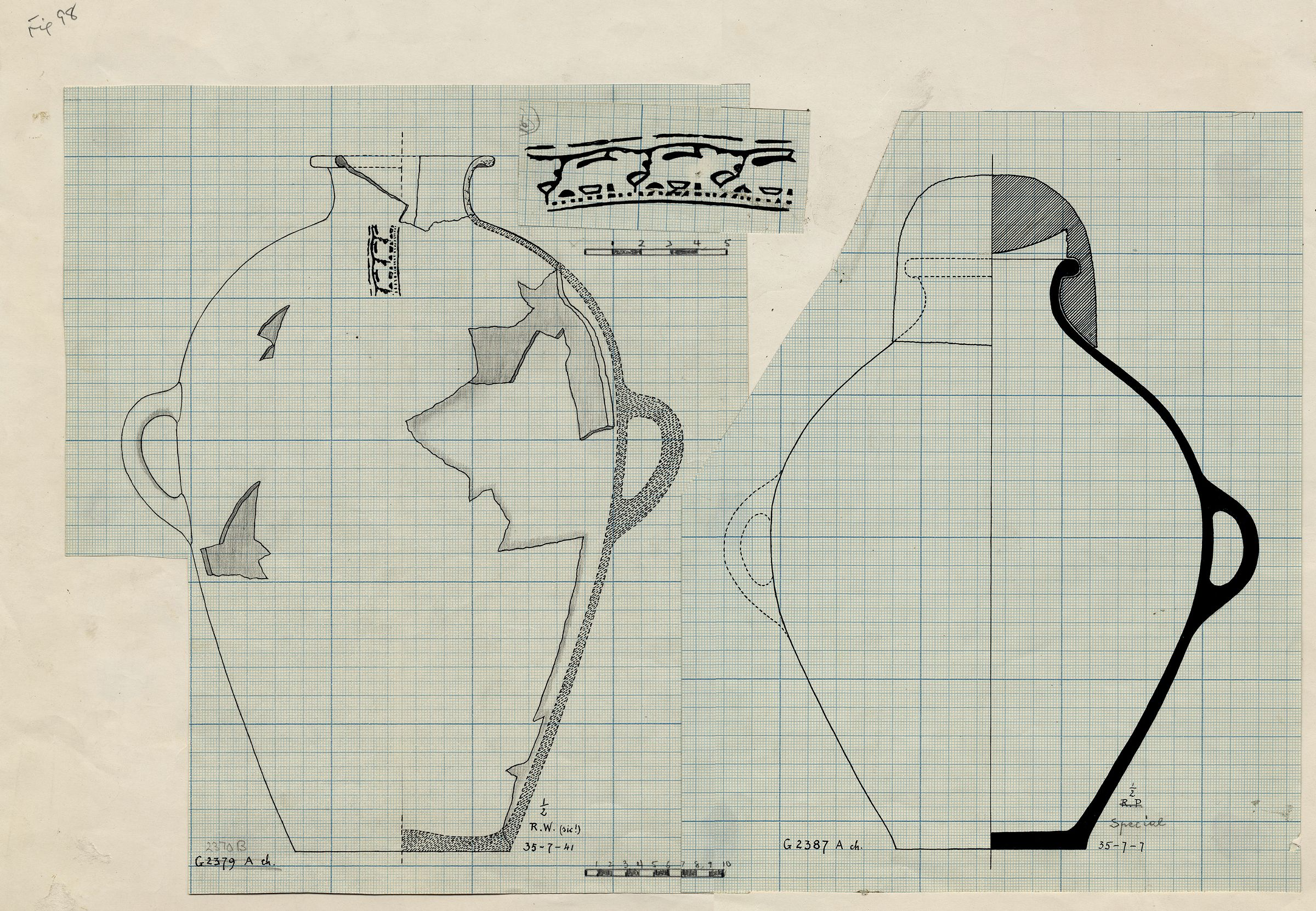 Drawings: Pottery, jars with two handles from G 2370, Shaft B; and G 2387, Shaft A