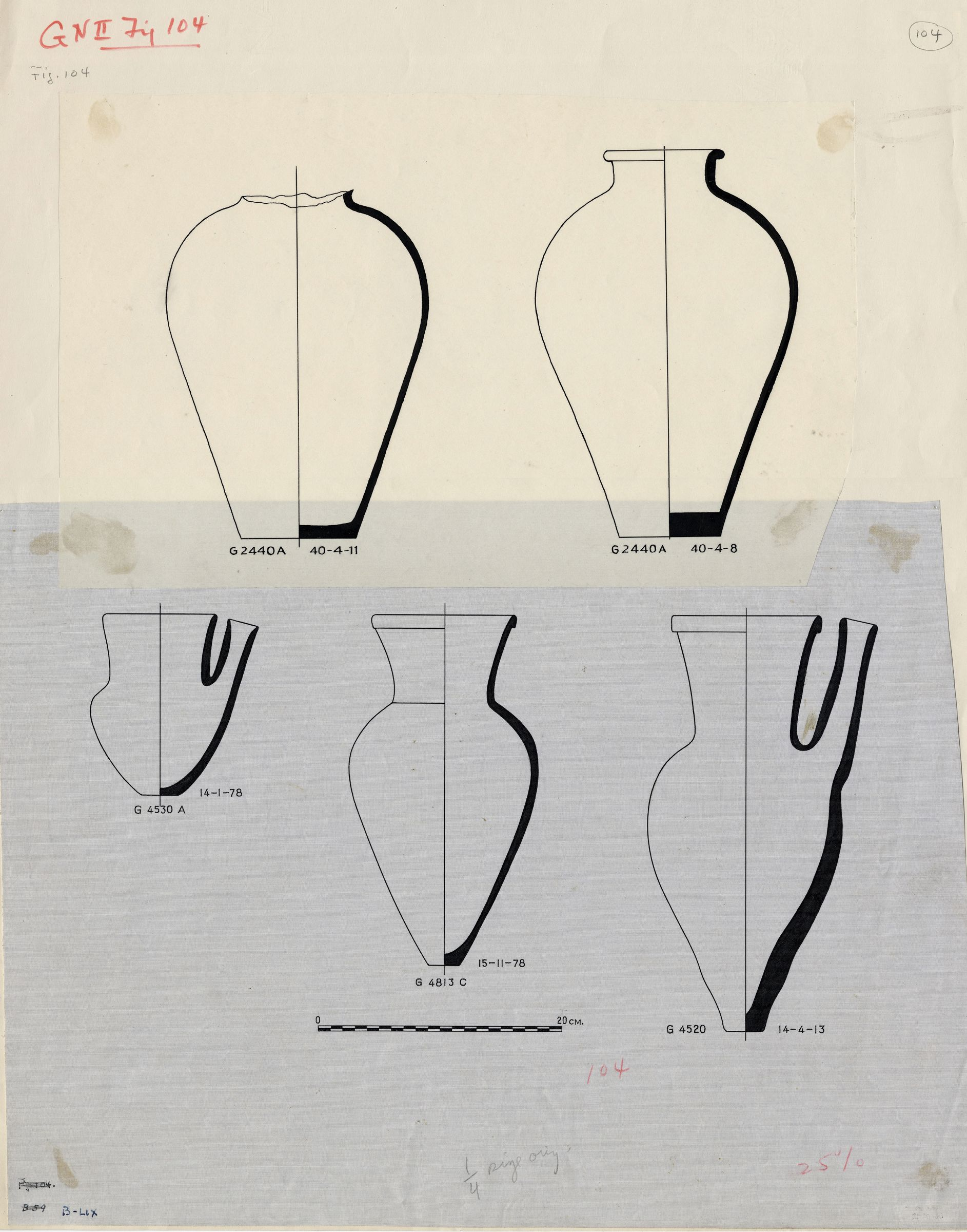 Drawings: Pottery, jars from G 2440, Shaft A; G 4520; G 4530, Shaft A; G 4813, Shaft C