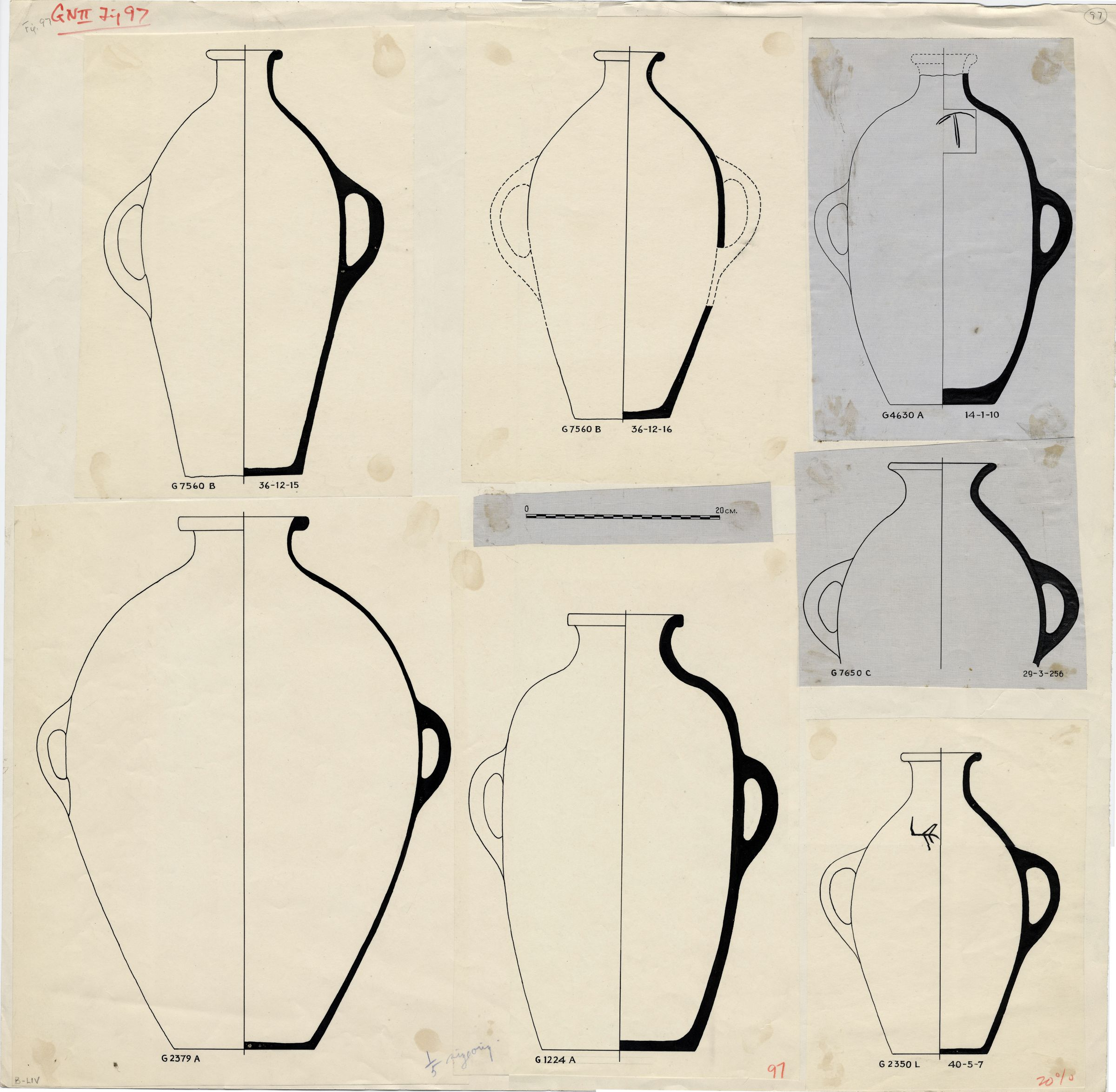Drawings: Pottery, jars with two handles from G 1224, G 2379, G 4630, G 5290, G 7560, G 7650