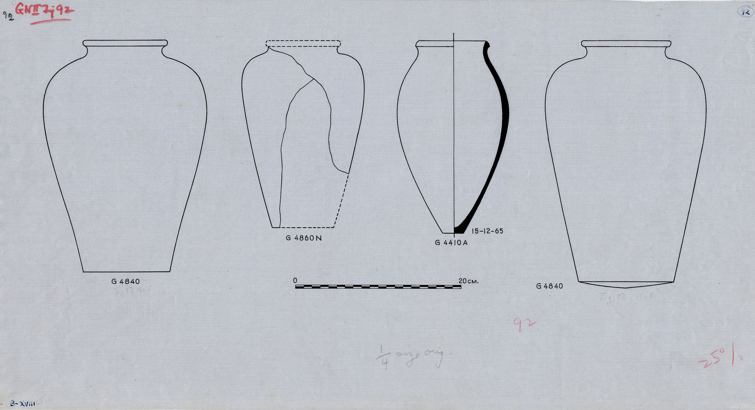 Drawings: Pottery, jars from G 4410, Shaft A; G 4840; G 4860, Shaft N