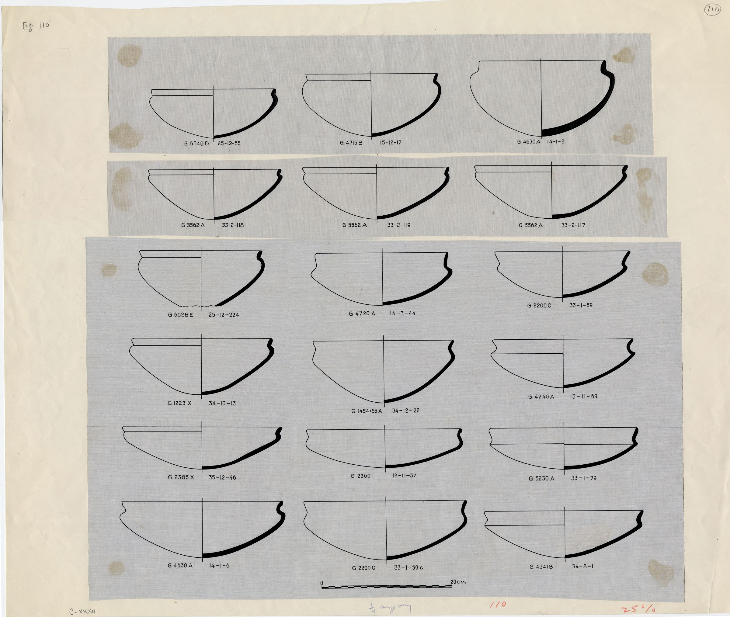 Drawings: Pottery bowls with recurved rims from G 1223-Annex, G 1454+1455, G 2360, G 2385, G 4240, G 4341 , G 4630, G 4715, G 4720, G 5080, G 5230, G 5562, G 6028, G 6040