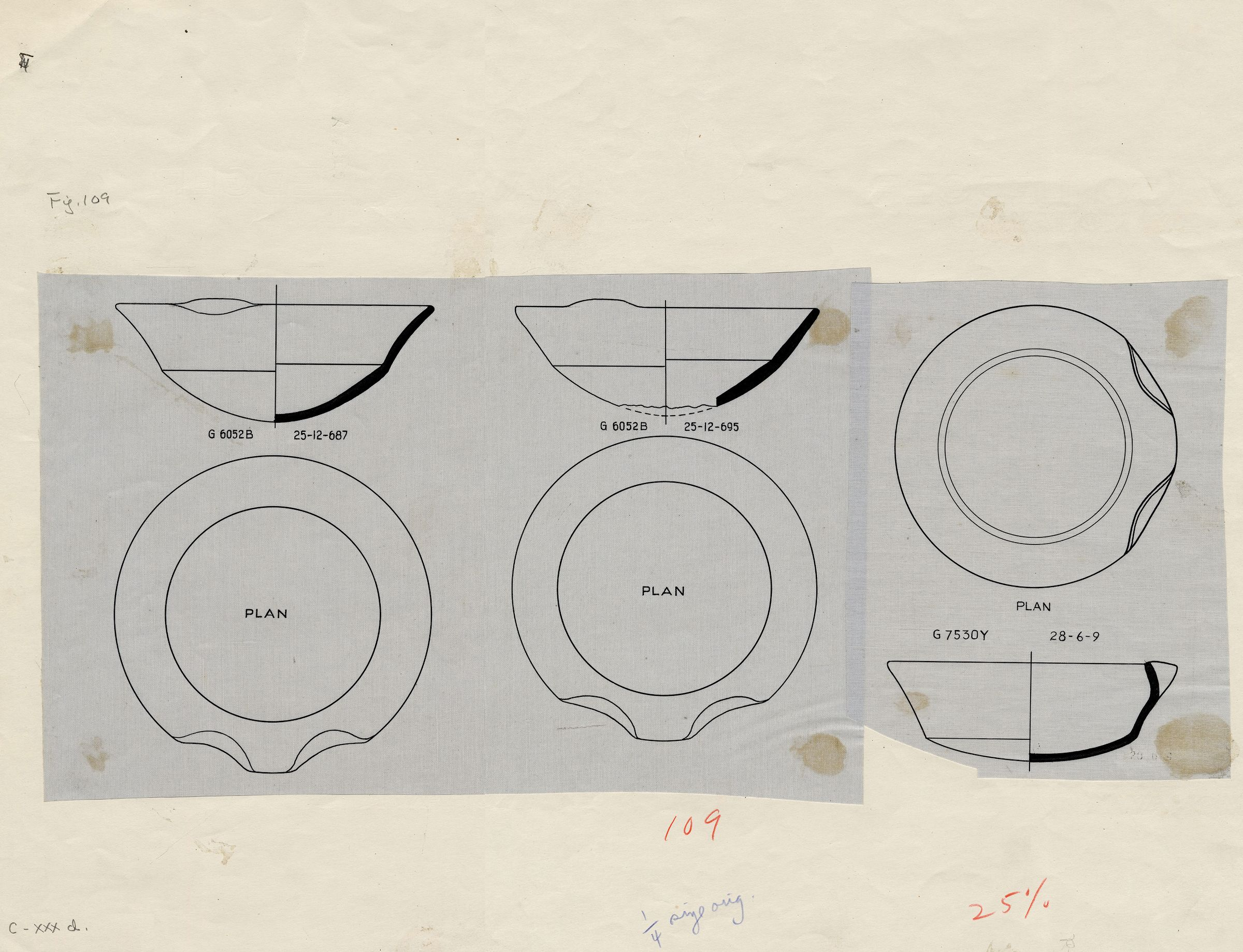 Drawings: Pottery, carinated bowls with lip spouts from G 6052 and G 7530-7540