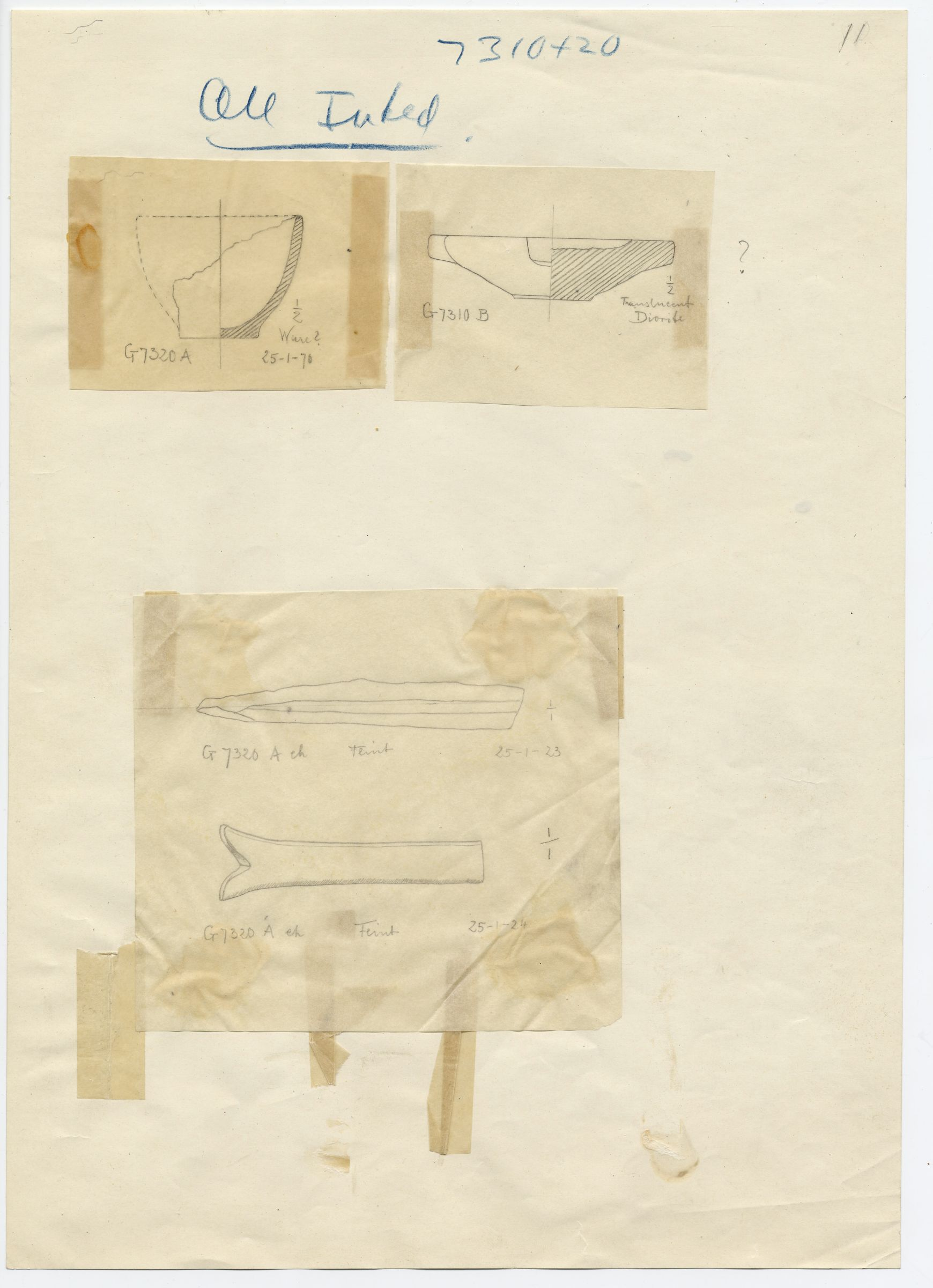 Drawings: objects from G 7310-7320