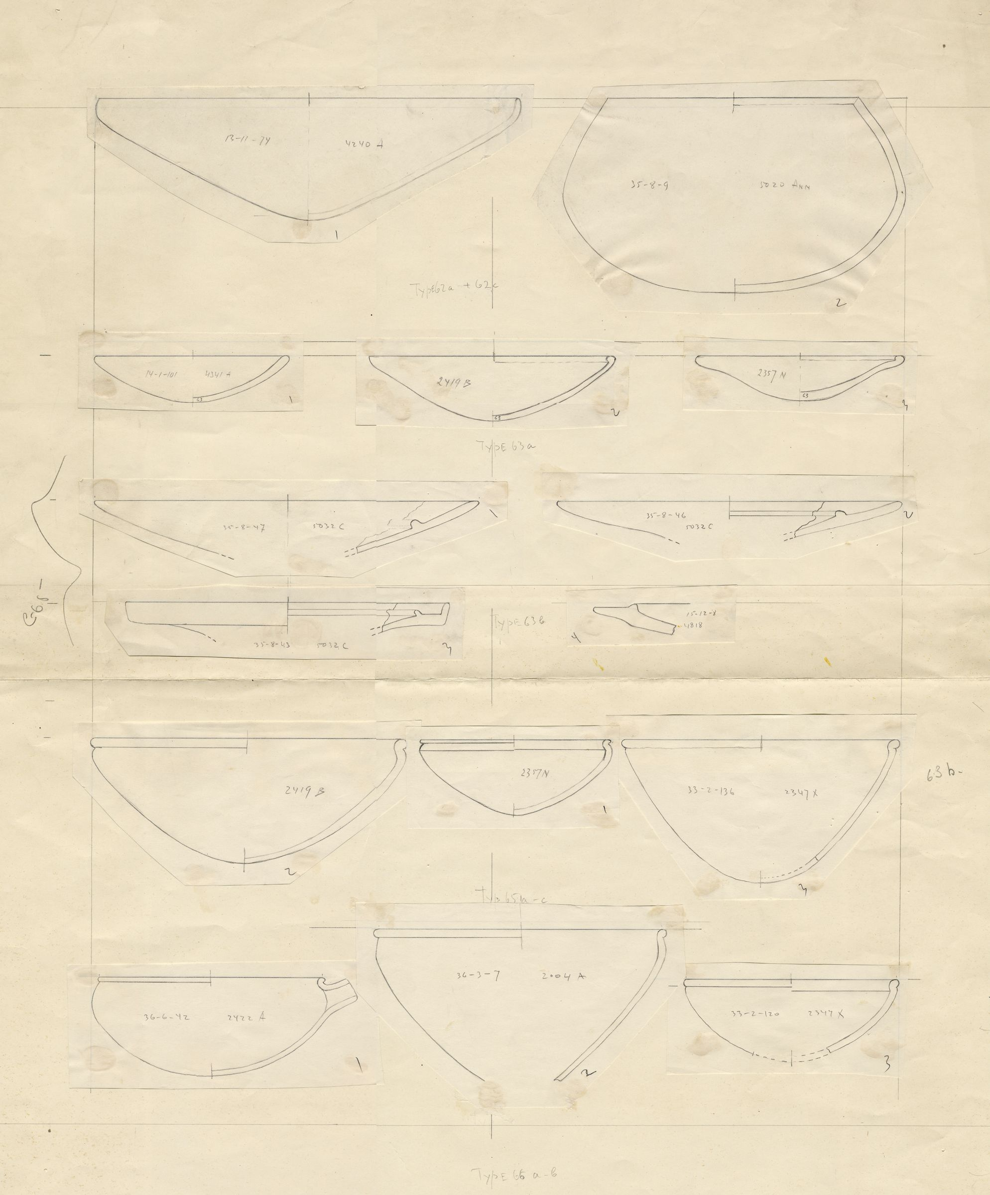 Drawings: Pottery bowls from G 2004, G 2419, G 2422, G 4240, G 4341, G 4818, G 5020-Annex, G 5032, G 5561, G 5562