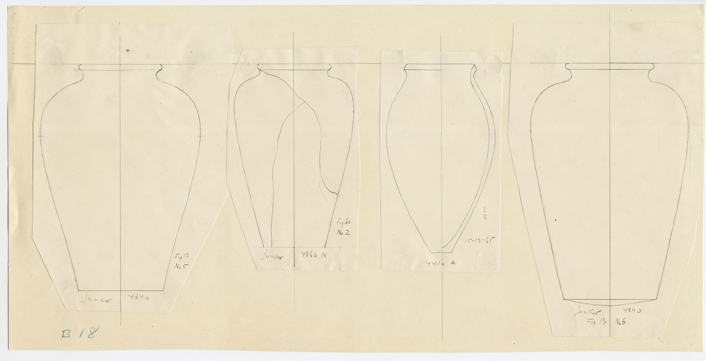 Drawings: Pottery jars from G 4410, G 4840, G 4860