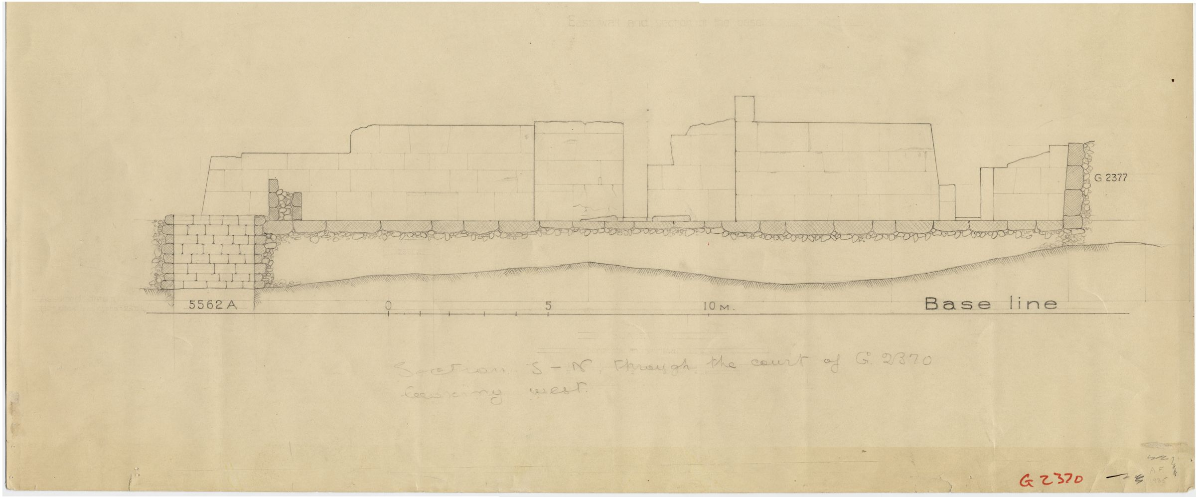 Maps and plans: G 2370, Section of court, with positions of G 5562, Shaft A and G 2377