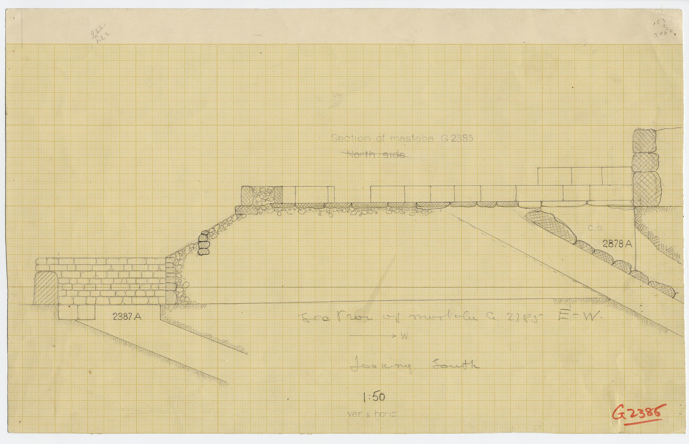 Maps and plans: G 2385, Section, with locations of G 2387, Shaft  A and G 2378, Shaft A
