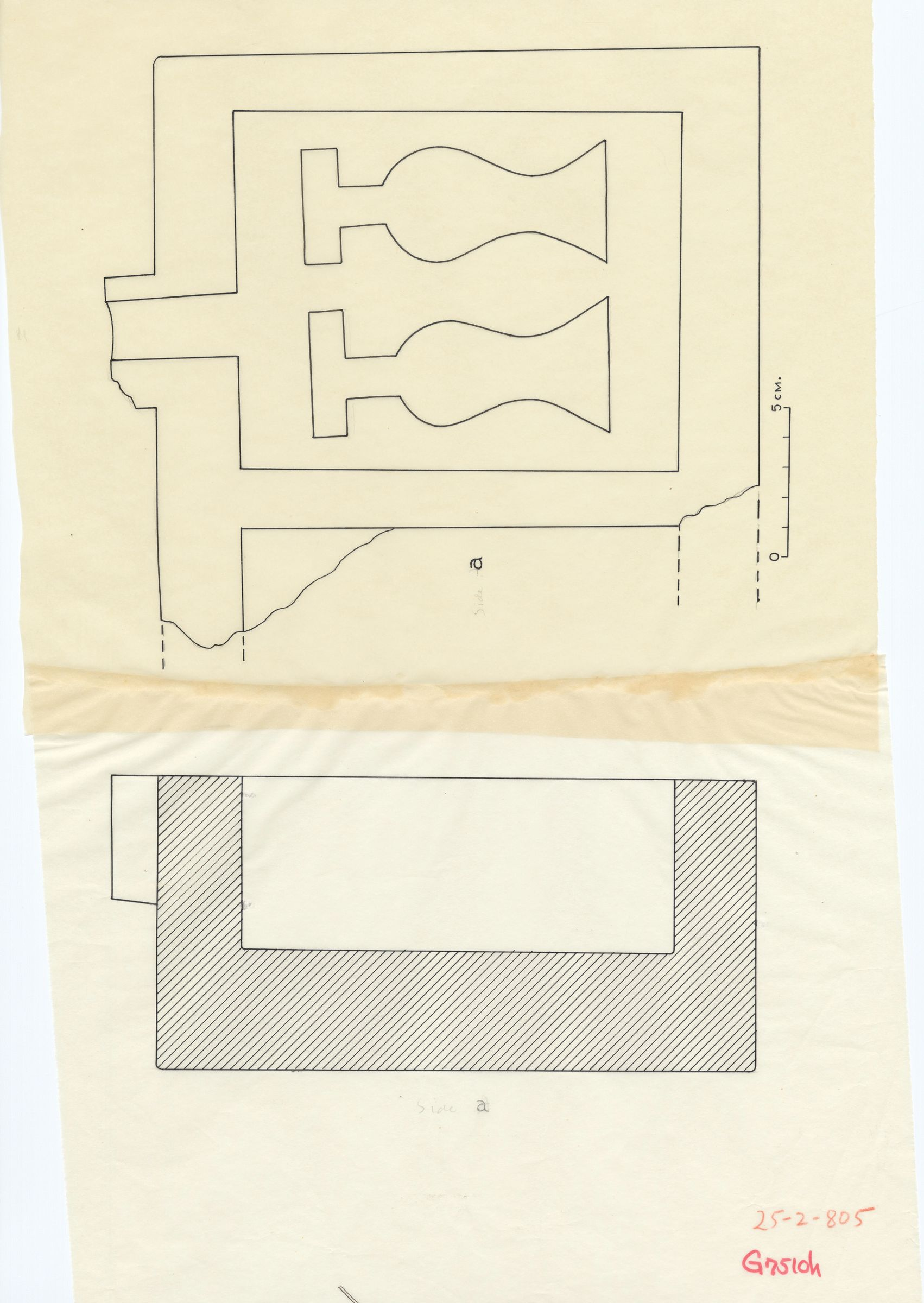 Drawings: G 7510, Shaft H: offering basin