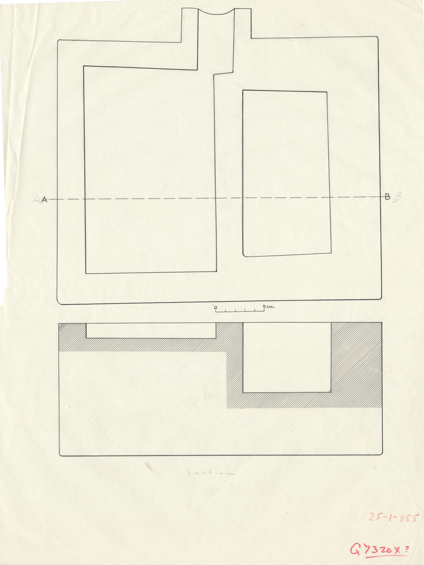 Maps and plans: G 7320, Shaft X: offering basin, plan and section