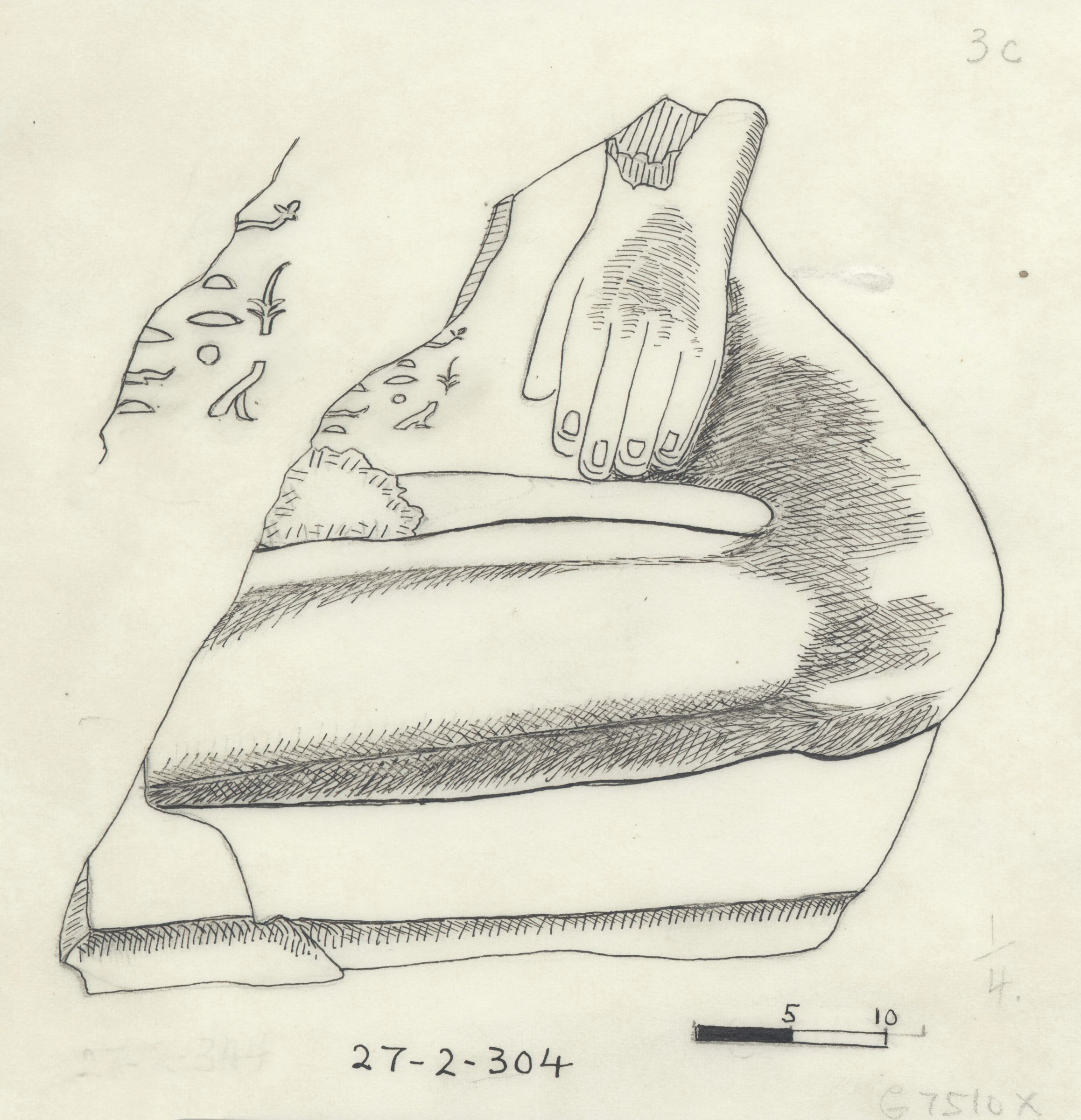 Drawings: G 7510: fragment of statue