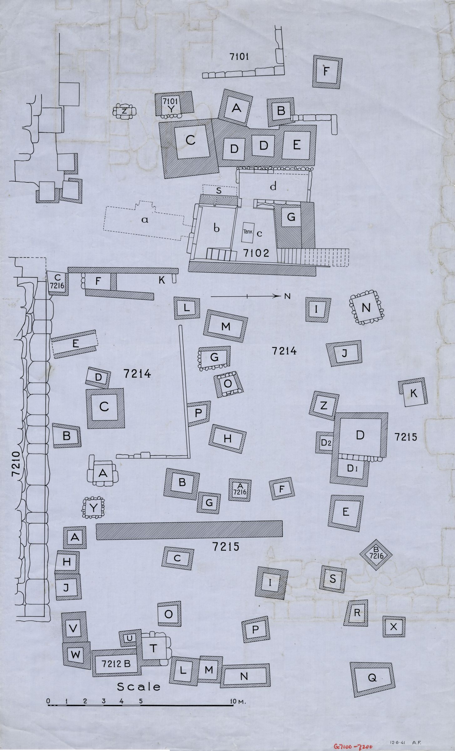 Maps and plans: Plan of Cemetery G 7000, N end