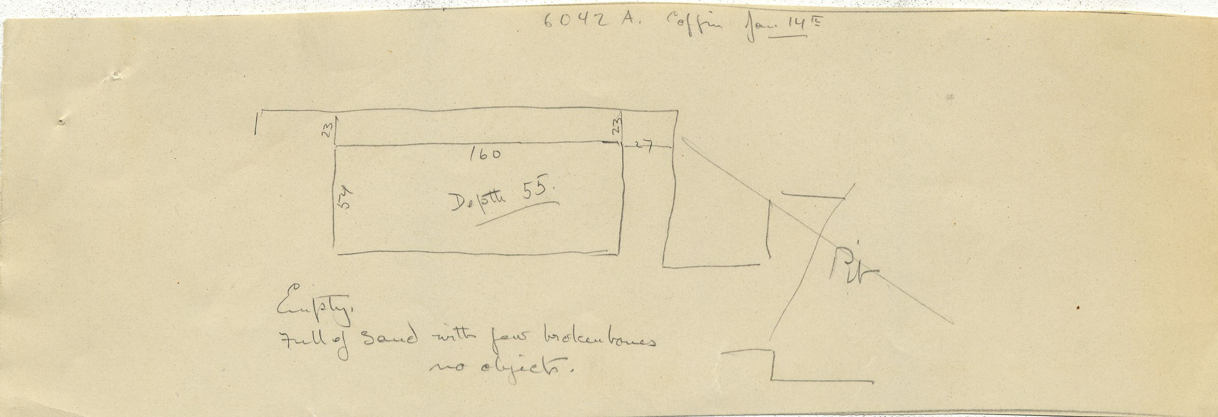 Drawings: G 6042, Shaft A: sketch of coffin from Shaft A