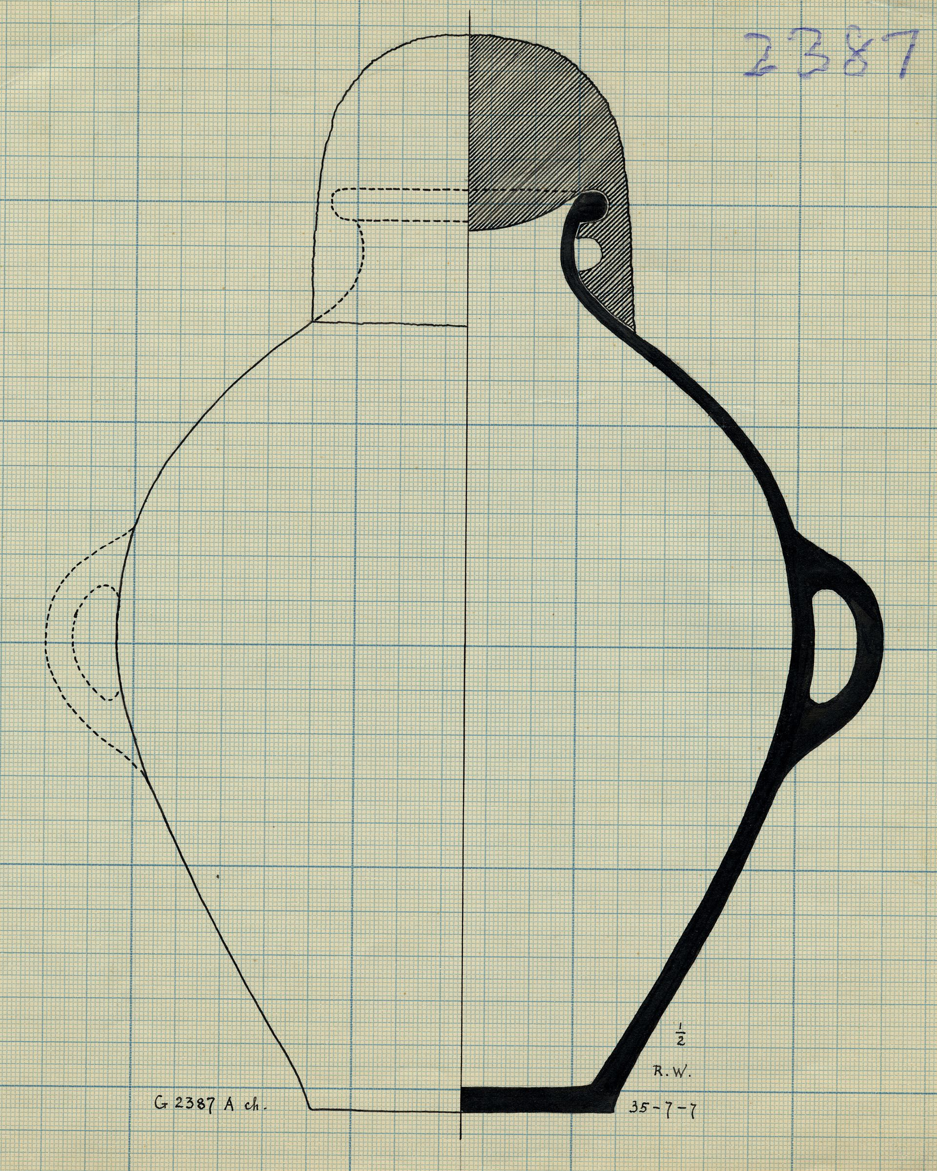 Drawings: G 2387, Shaft A, chamber: pottery, jar with two handles
