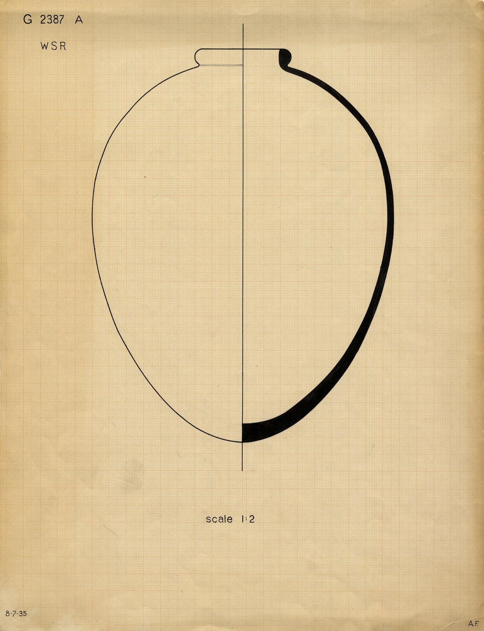 Drawings: G 2387, Shaft A: pottery, jar