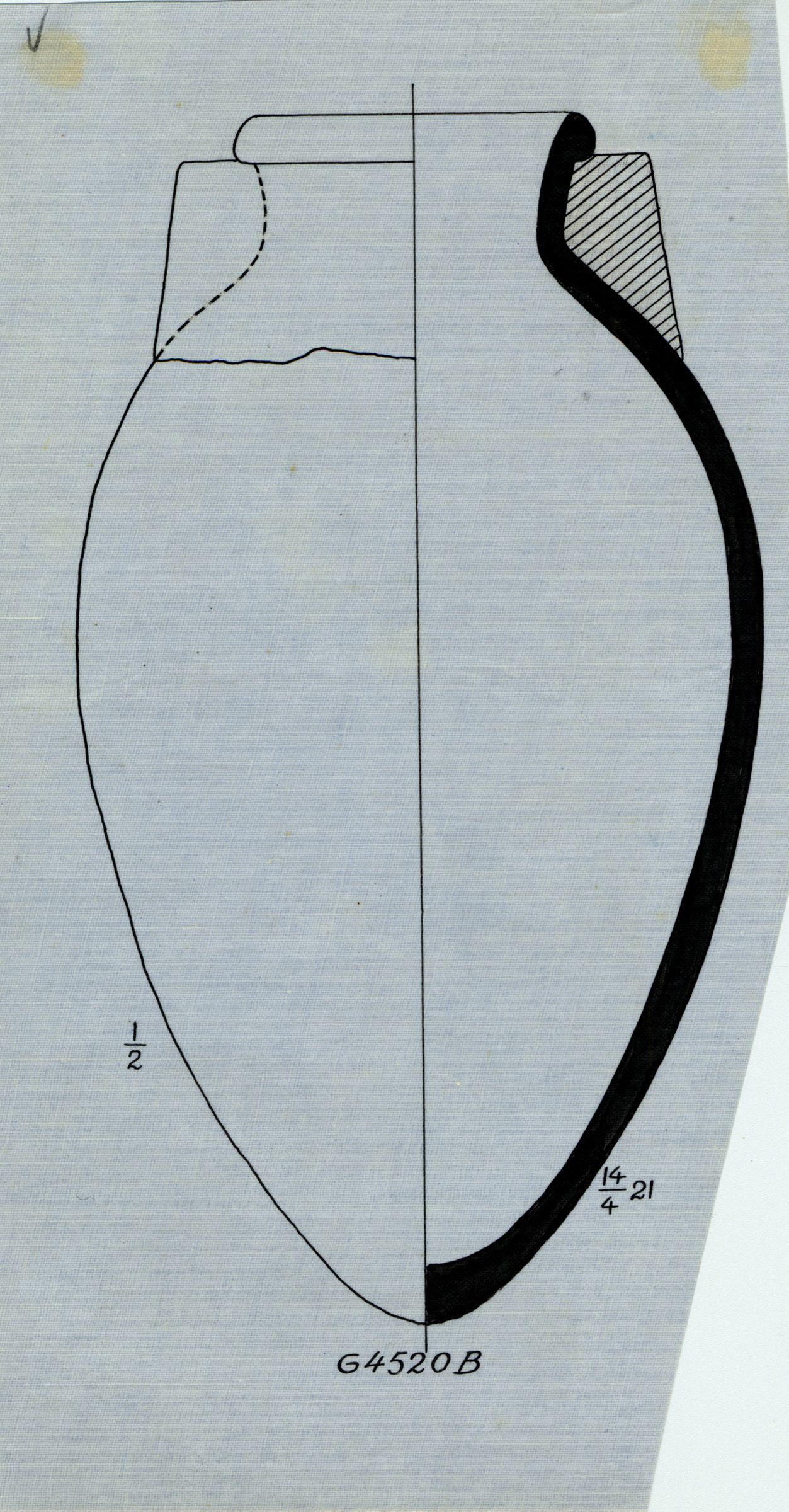 Drawings: G 4520, Shaft B: pottery, jar with mud collar (stopper remnant)