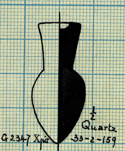 Drawings: G 2347, Shaft X (= G 5562, Shaft A): model bottle, quartzite