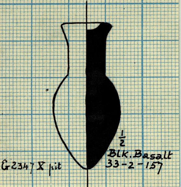 Drawings: G 2347, Shaft X (= G 5562, Shaft A): model bottle, basalt