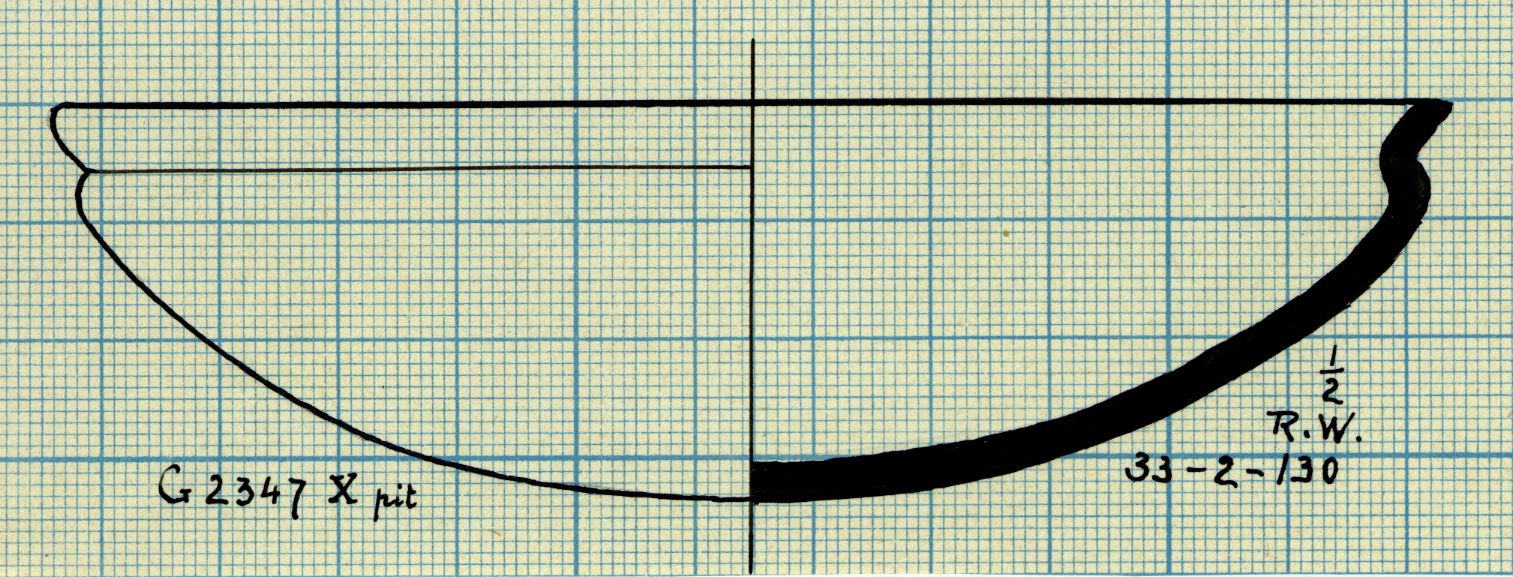 Drawings: G 2347, Shaft X (= G 5562, Shaft A): pottery, bowl with recurved rim
