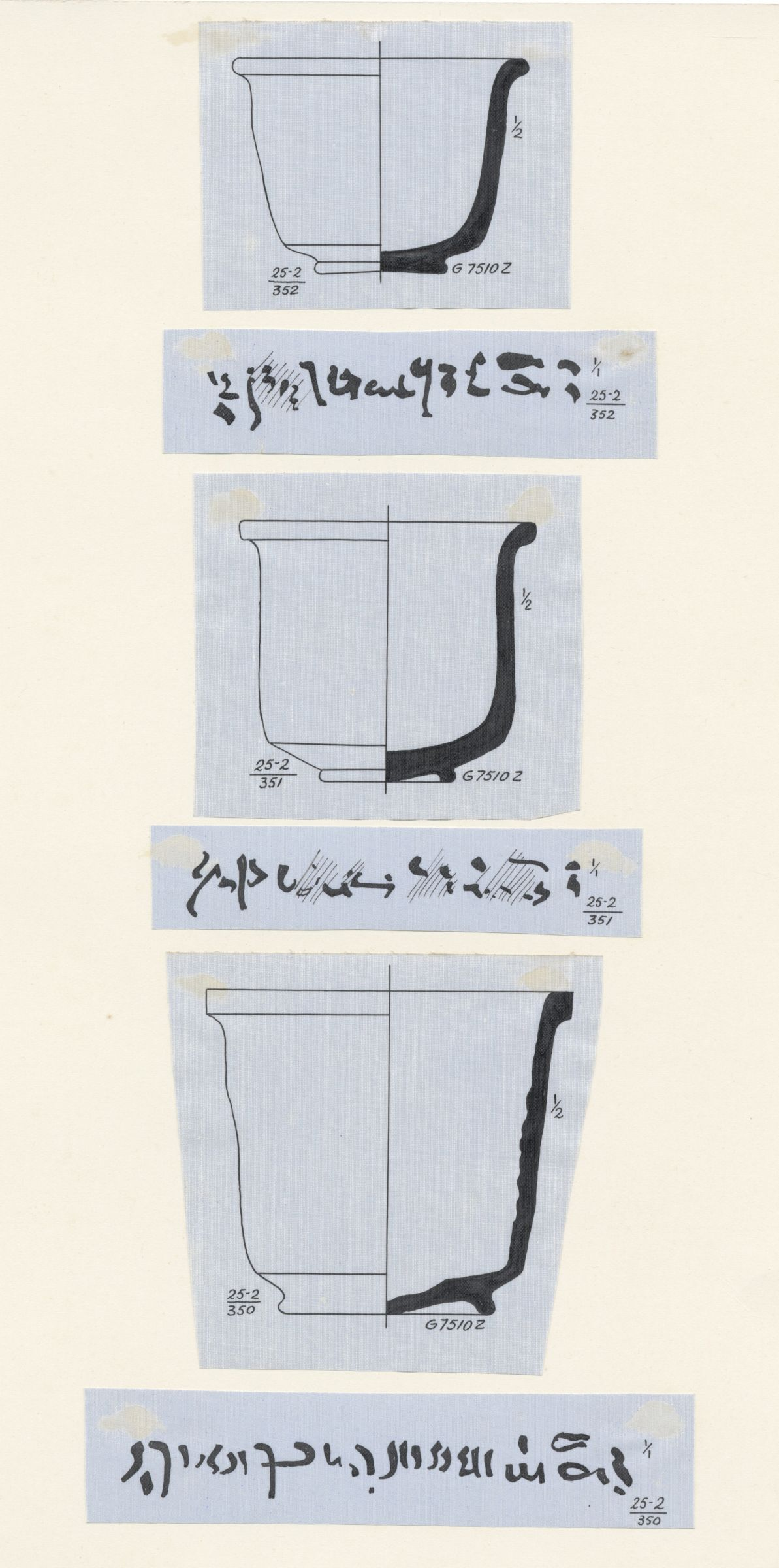 Drawings: G 7510, Shaft Z: pottery, with inscriptions in Demotic