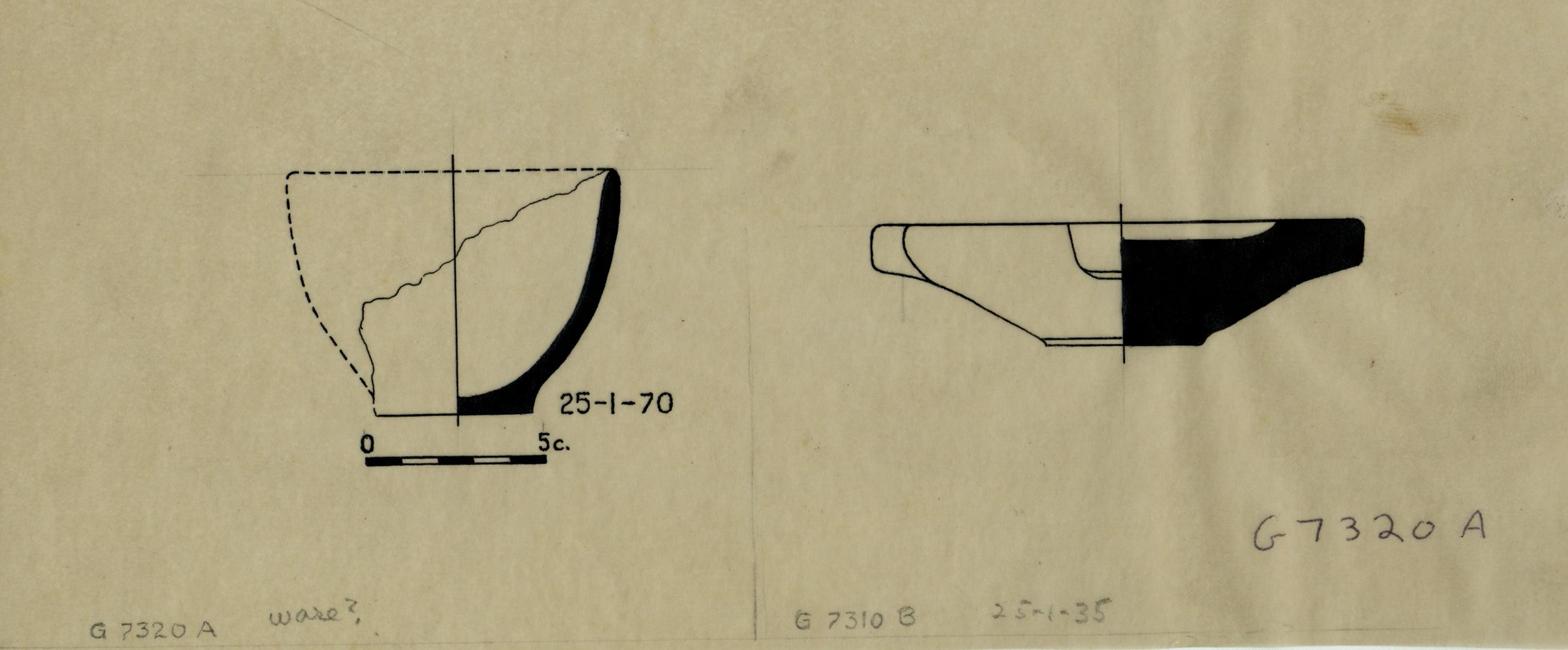 Drawings: Objects from G 7320, Shaft A, and G 7310, Shaft B
