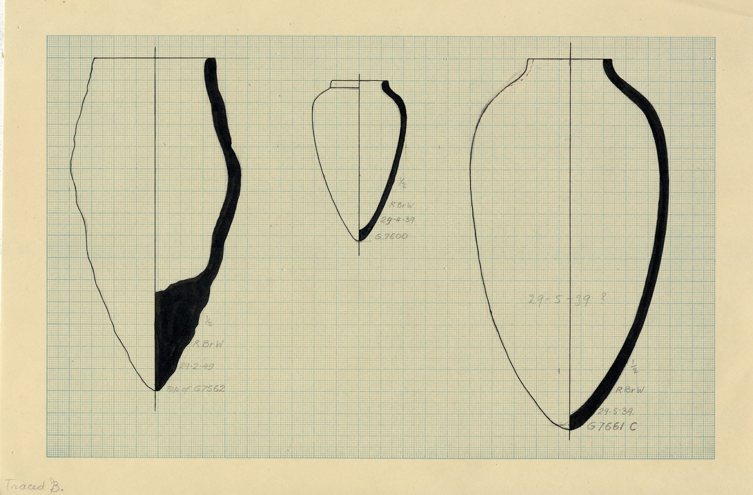 Drawings: Pottery, jars from G 7652, G 7600, Shaft X, G 7661, Shaft C