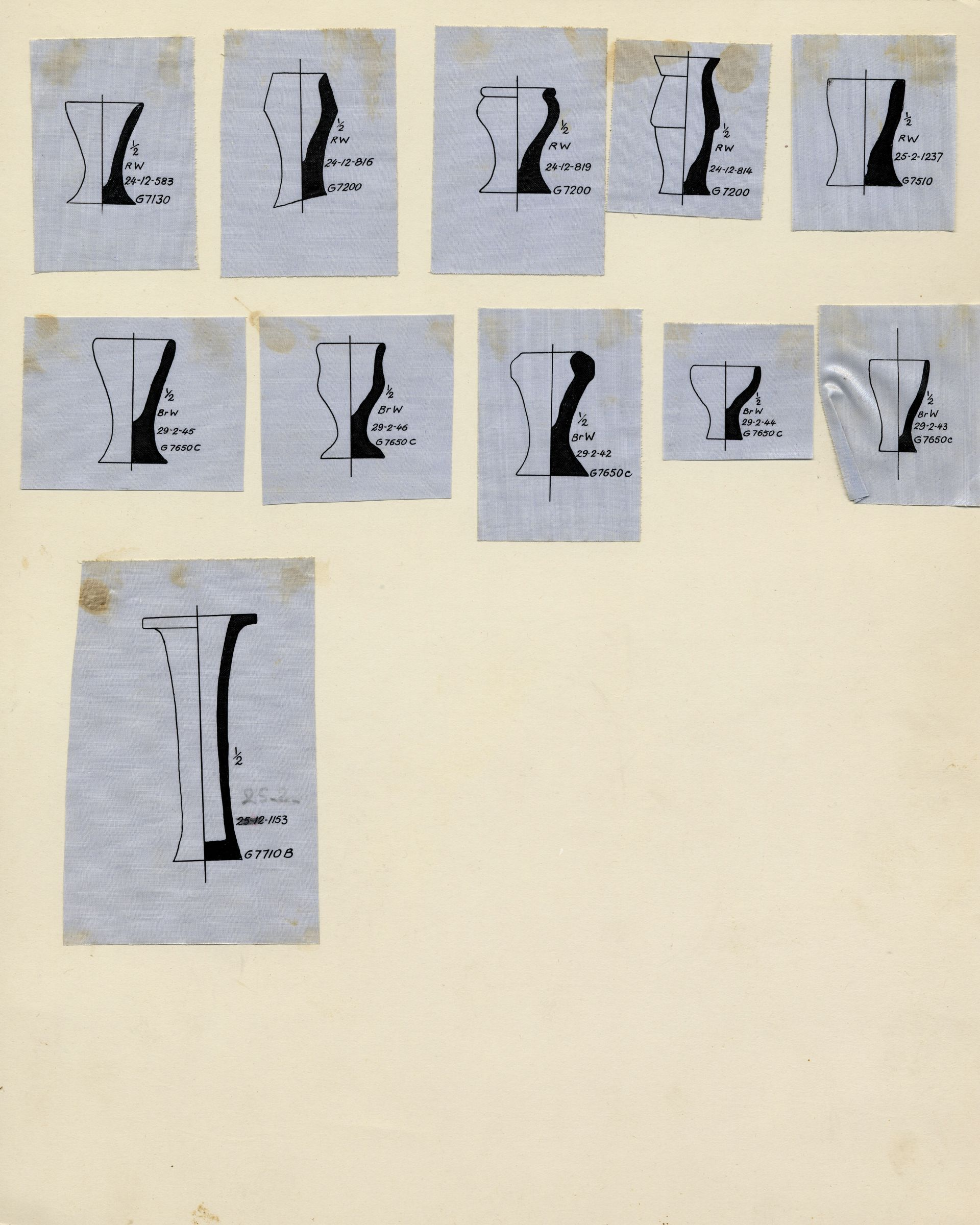 Drawings: Drawing of pottery, model jars from Avenue G 2, G 7510, G 7560, G 7710, Shaft B