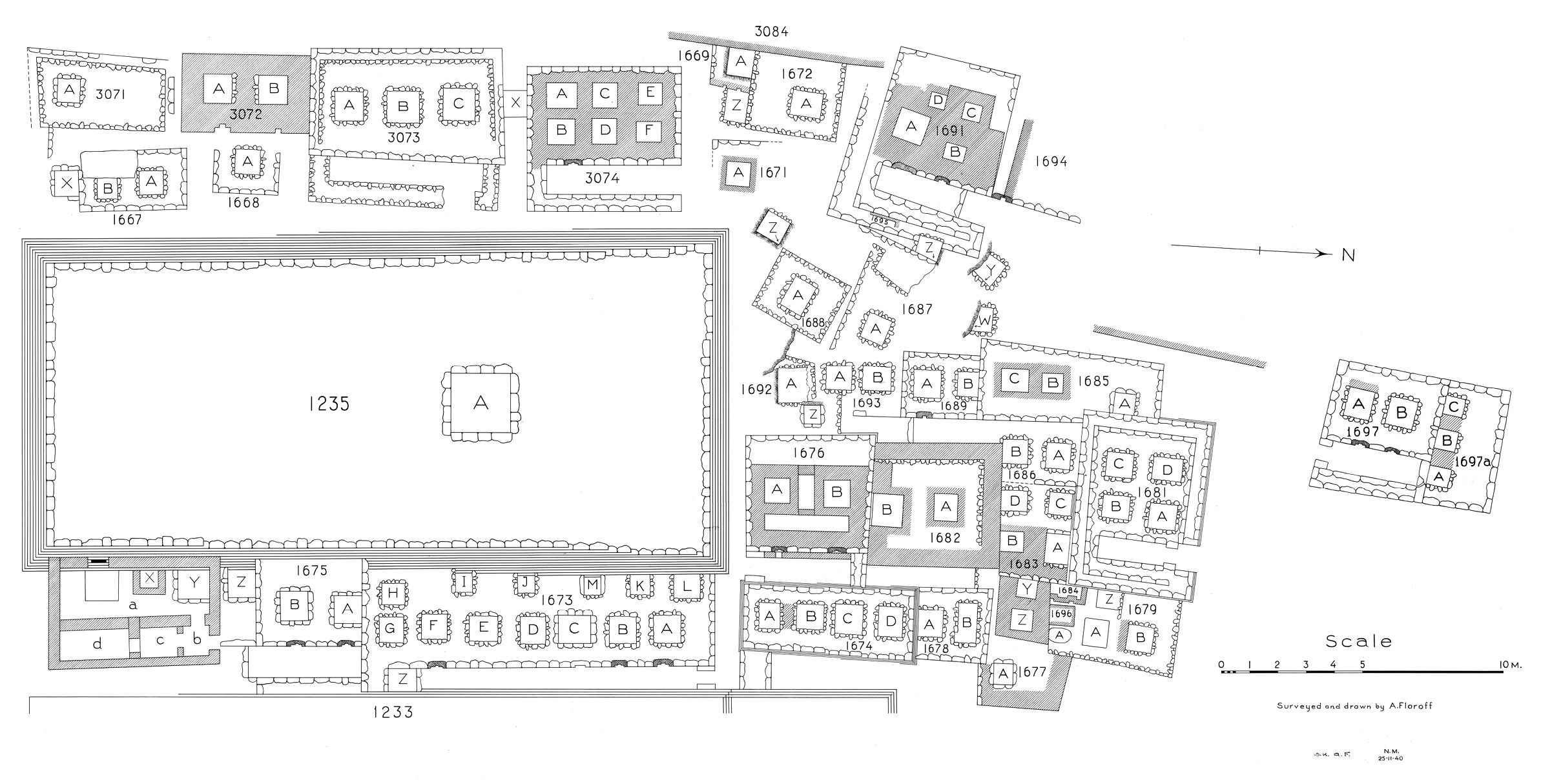 Maps and plans: Plan of cemetery G 1600 (S portion), G 1235, G 1669 - G 1697, G 3071 - G 3074