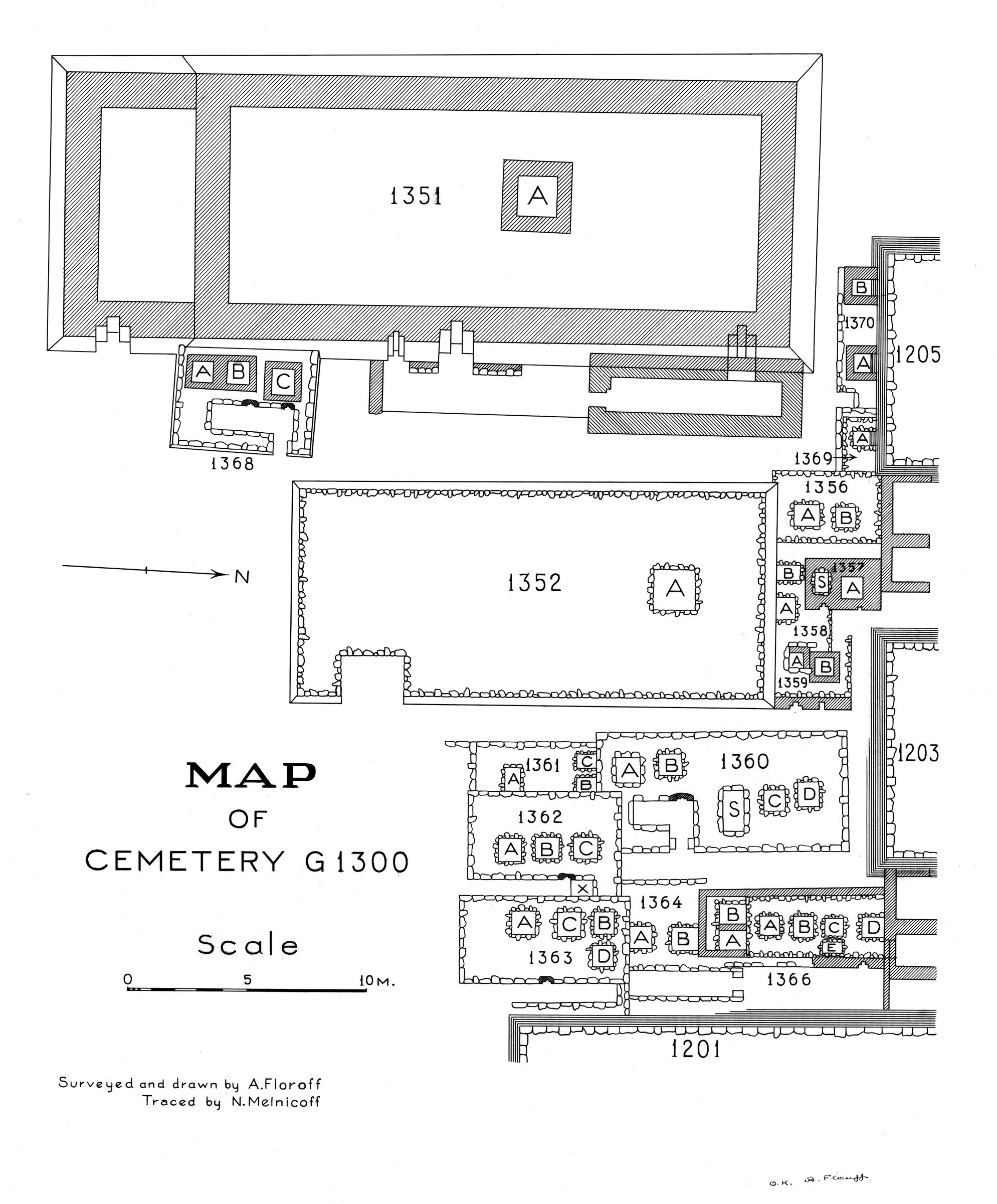 Maps and plans: Plan of cemetery G 1300 (SW portion), G 1351 - 1370
