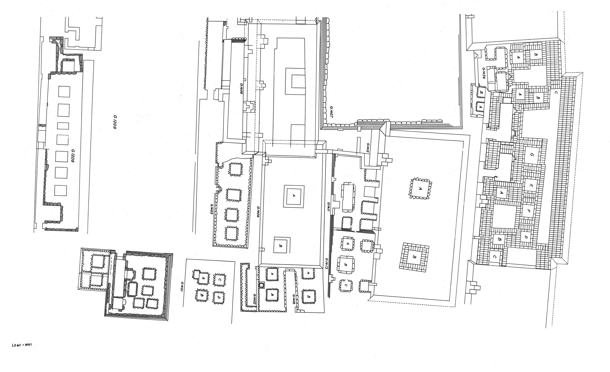 Maps and plans: Plan of cemetery 1400 (partial), G 1208 to G 1457