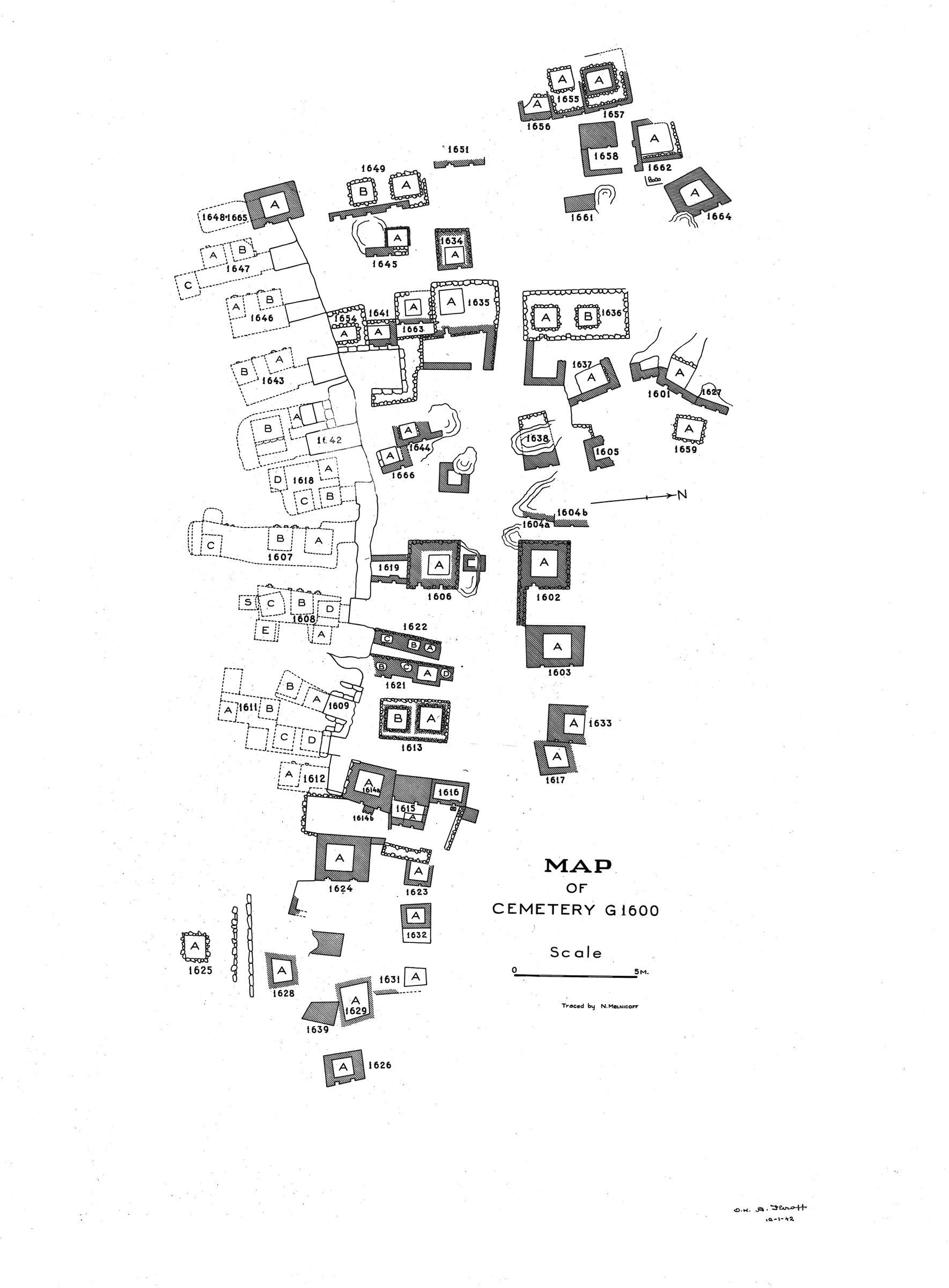 Maps and plans: Plan of cemetery G 1600 (north), G 1601 to G 1666