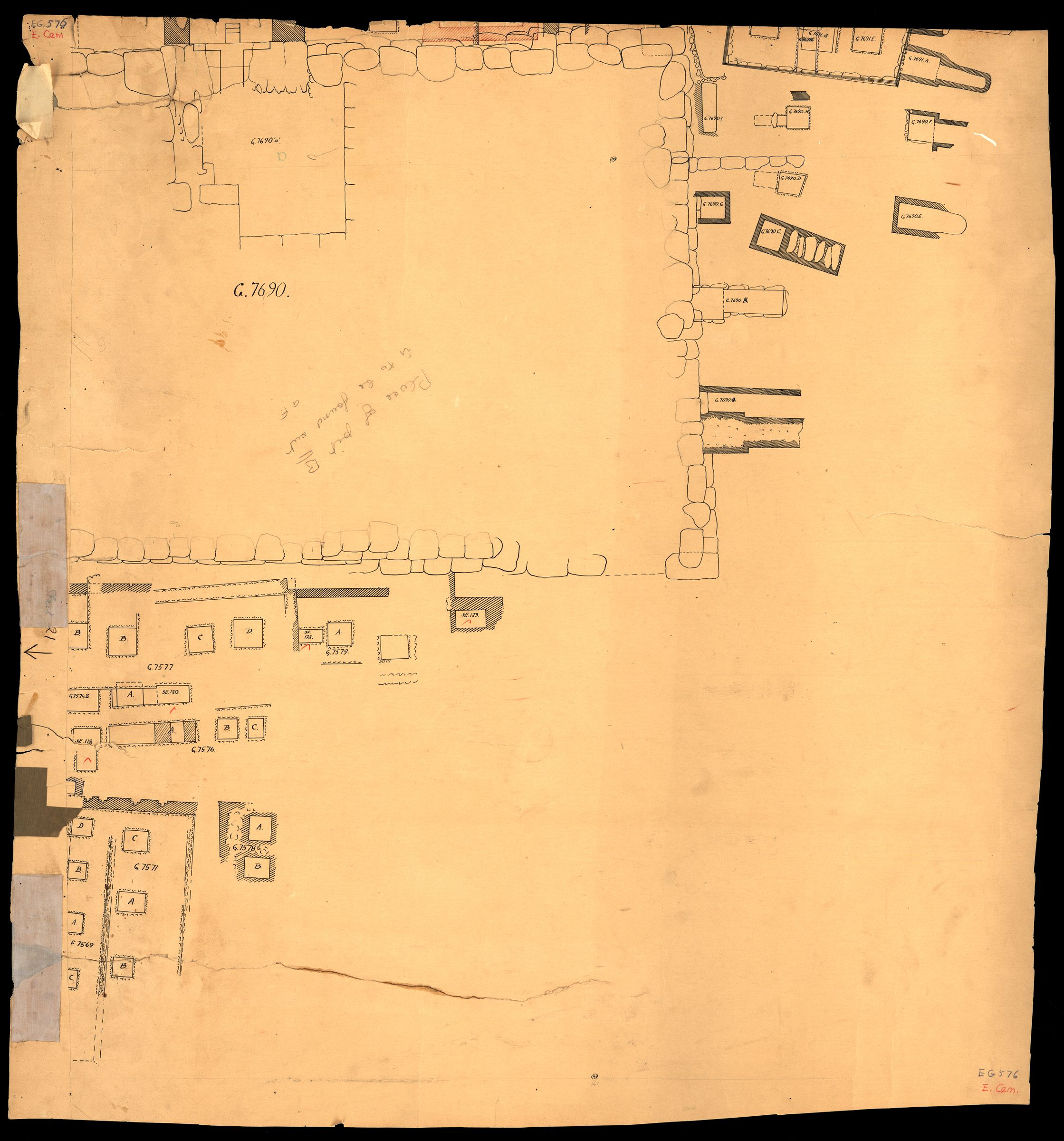 Maps and plans: Plan of cemetery G 7000: G 7690 and surrounding area