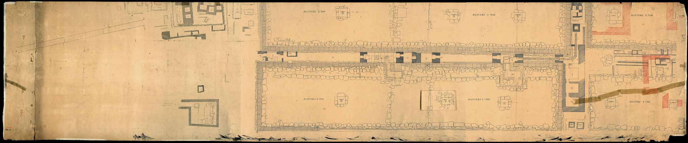 Maps and plans: Plan of cemetery G 7000: portion of G 7310-7320, G 7410-7420, G 7330-7340, G 7430-7440