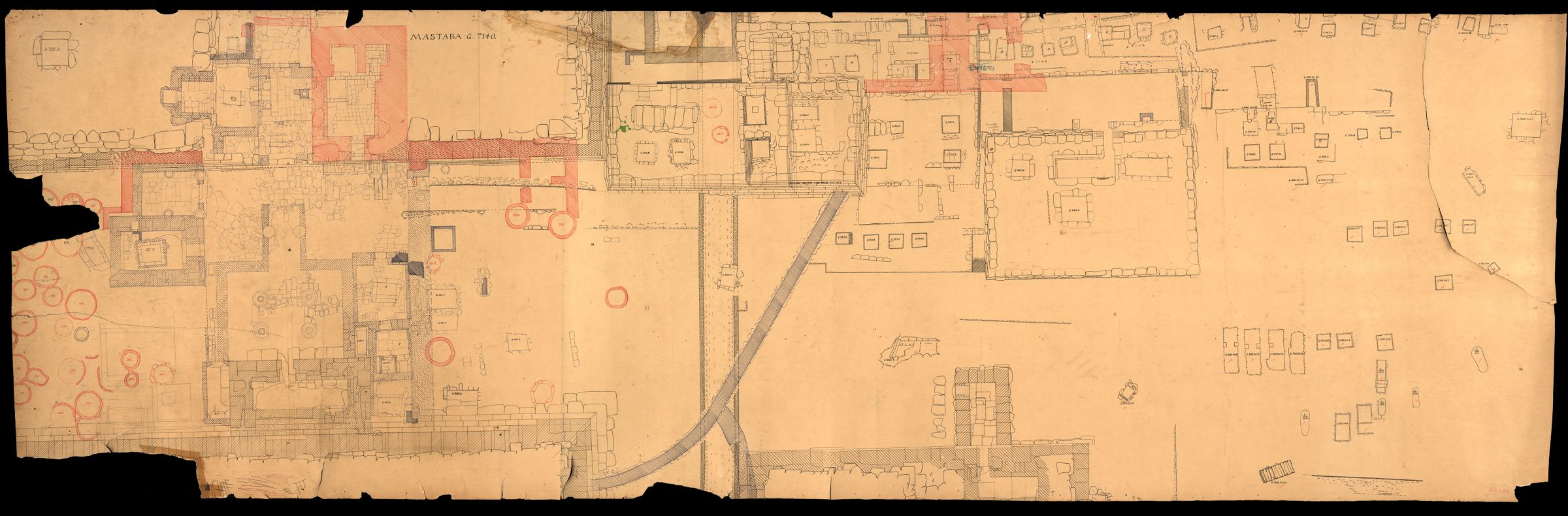 Maps and plans: Plan of cemetery G 7000: Isis Temple, portions of G 7130-7140, and surrounding area