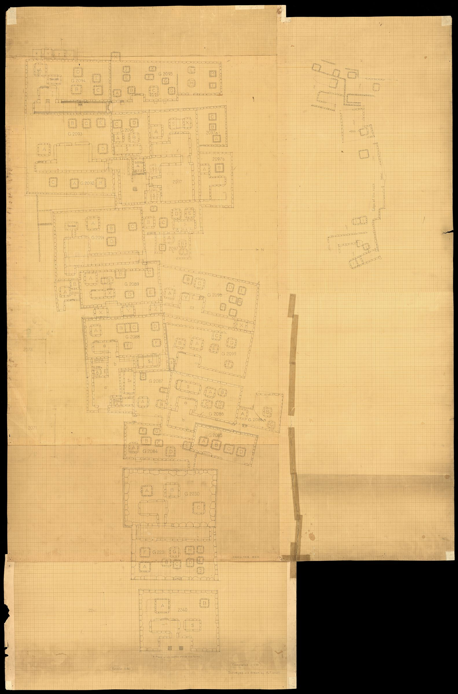 Maps and plans: Plan of Cemetery G 2000, NW part